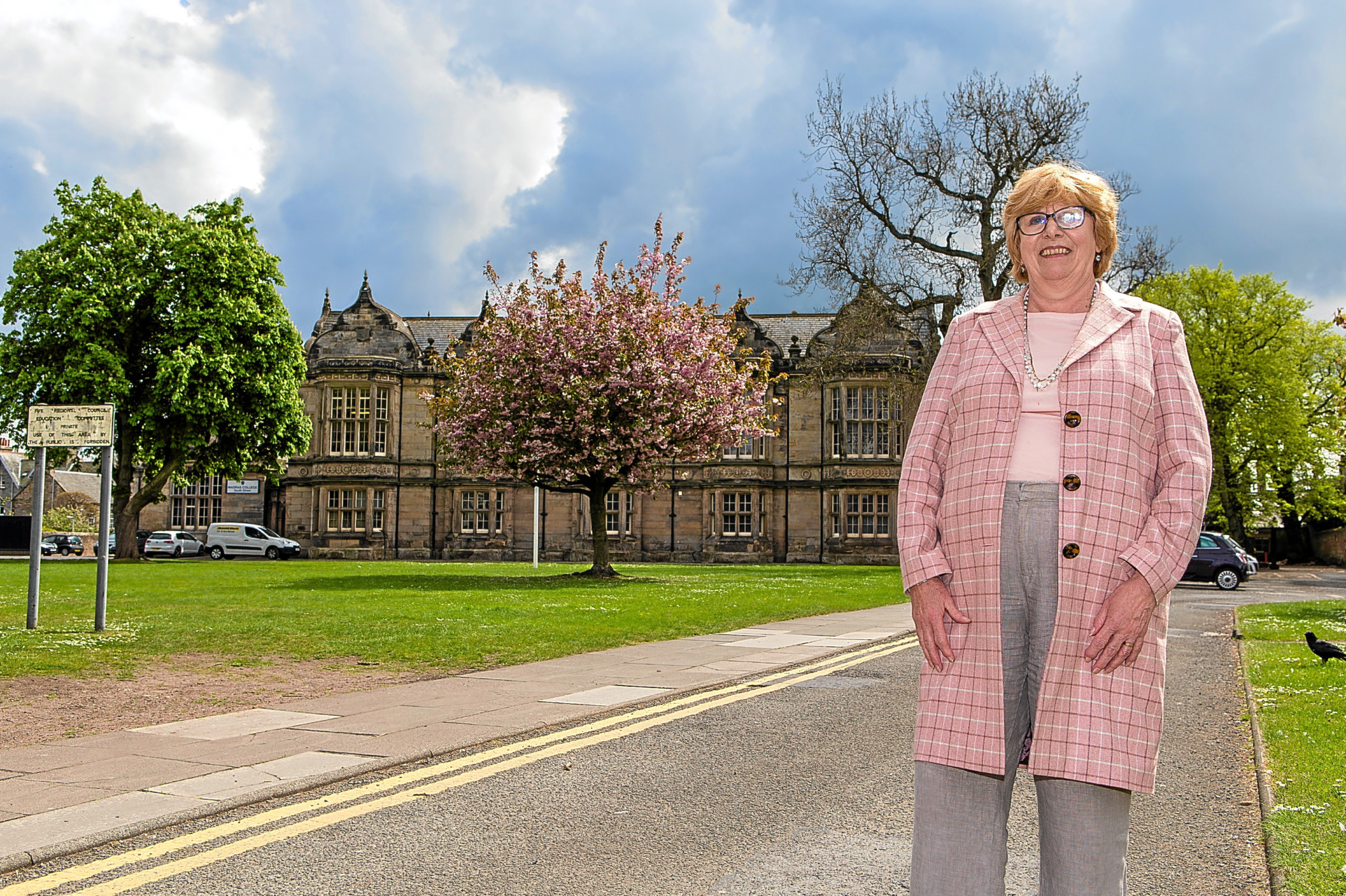 Councillor Dorothea Morrison at Madras College South Street campus, which she suggested could be refurbished in tandem with creation of a new Tay Bridgehead school.