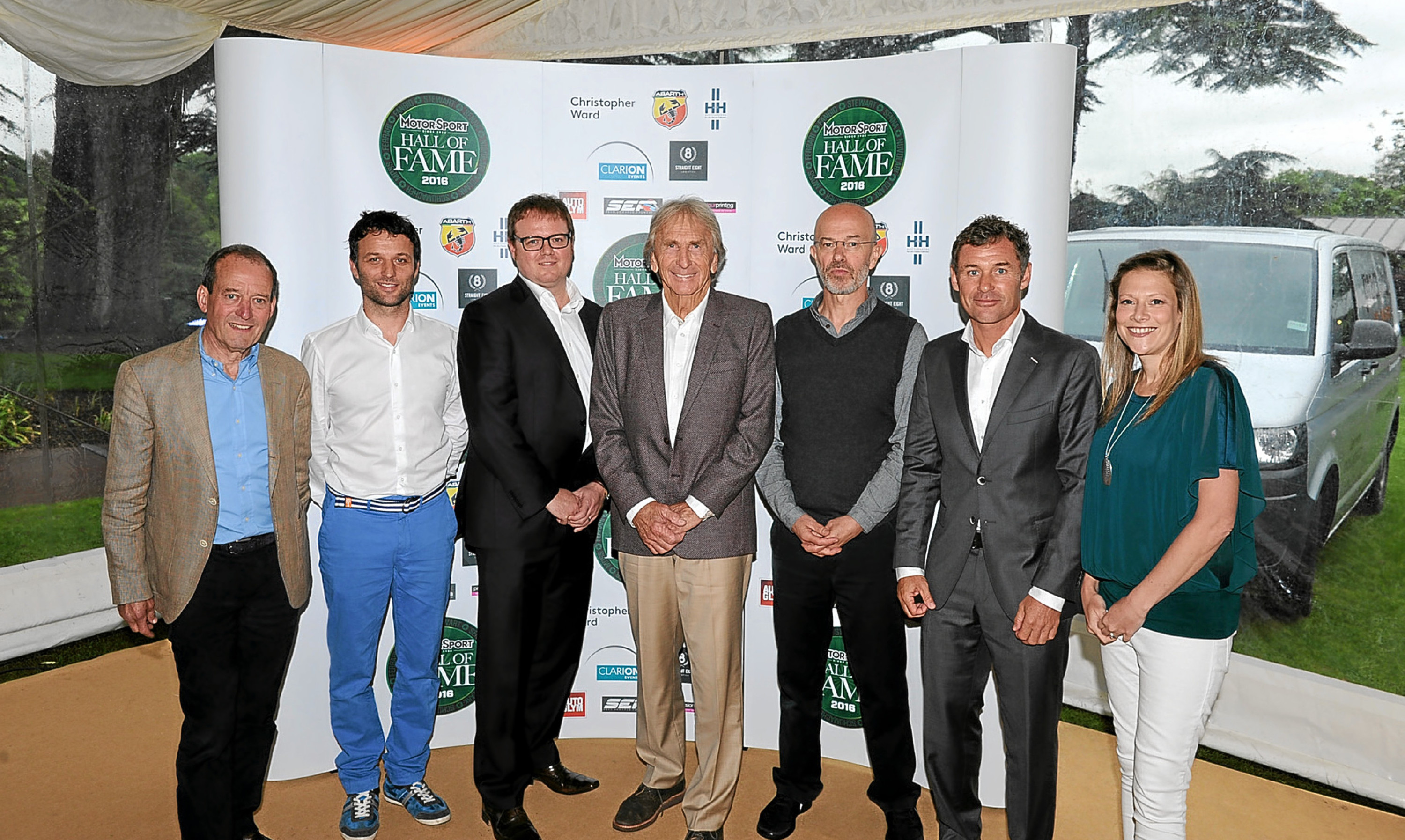 Jackie Oliver, Damien Smith, Derek Bell, Mat Oxley, Tom Kristensen and Jennie Gow being inducted into the Motor Sport Hall of Fame.