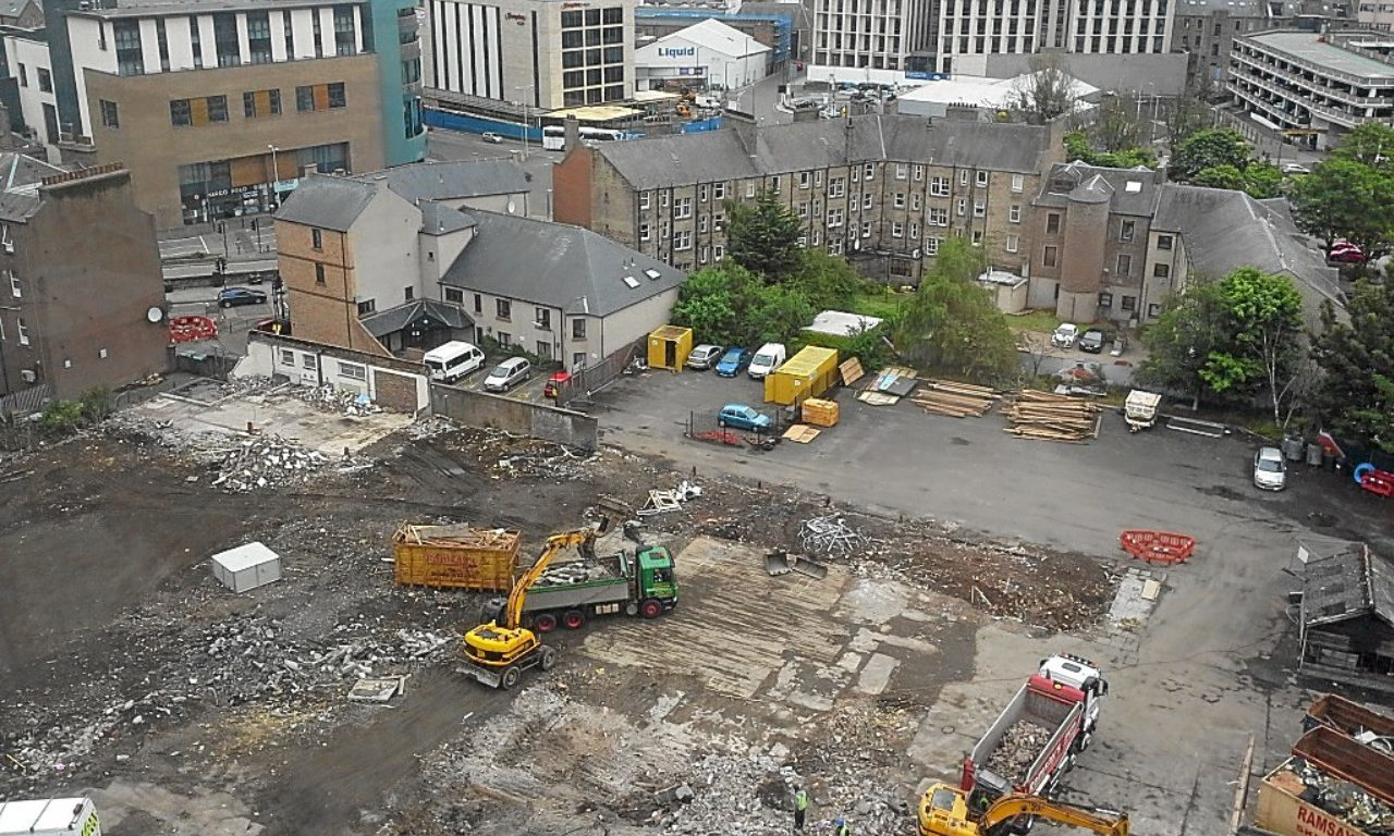 A photo showing the now cleared site.