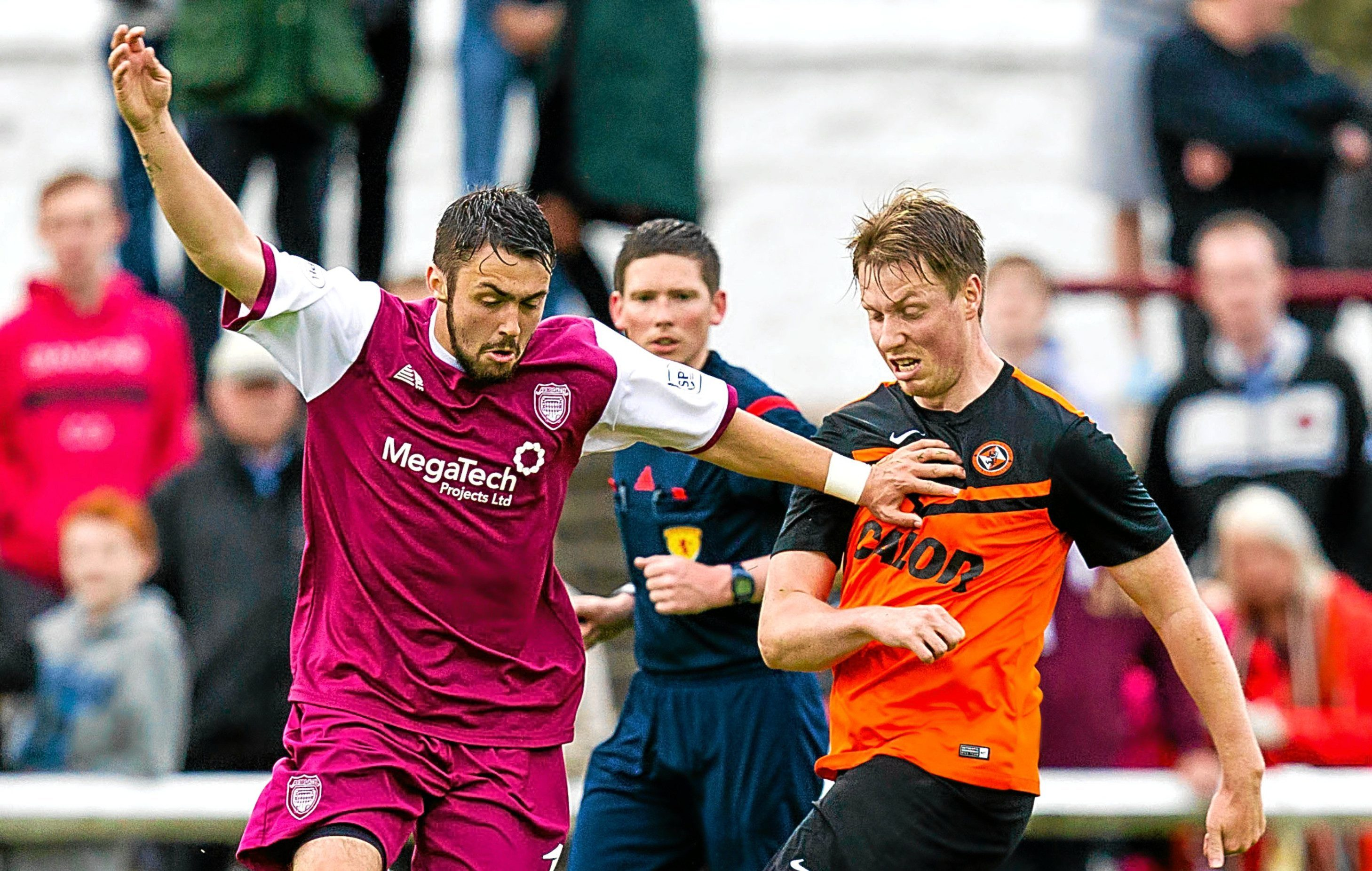 Jordan Moore in action for United in a friendly against Arbroath.