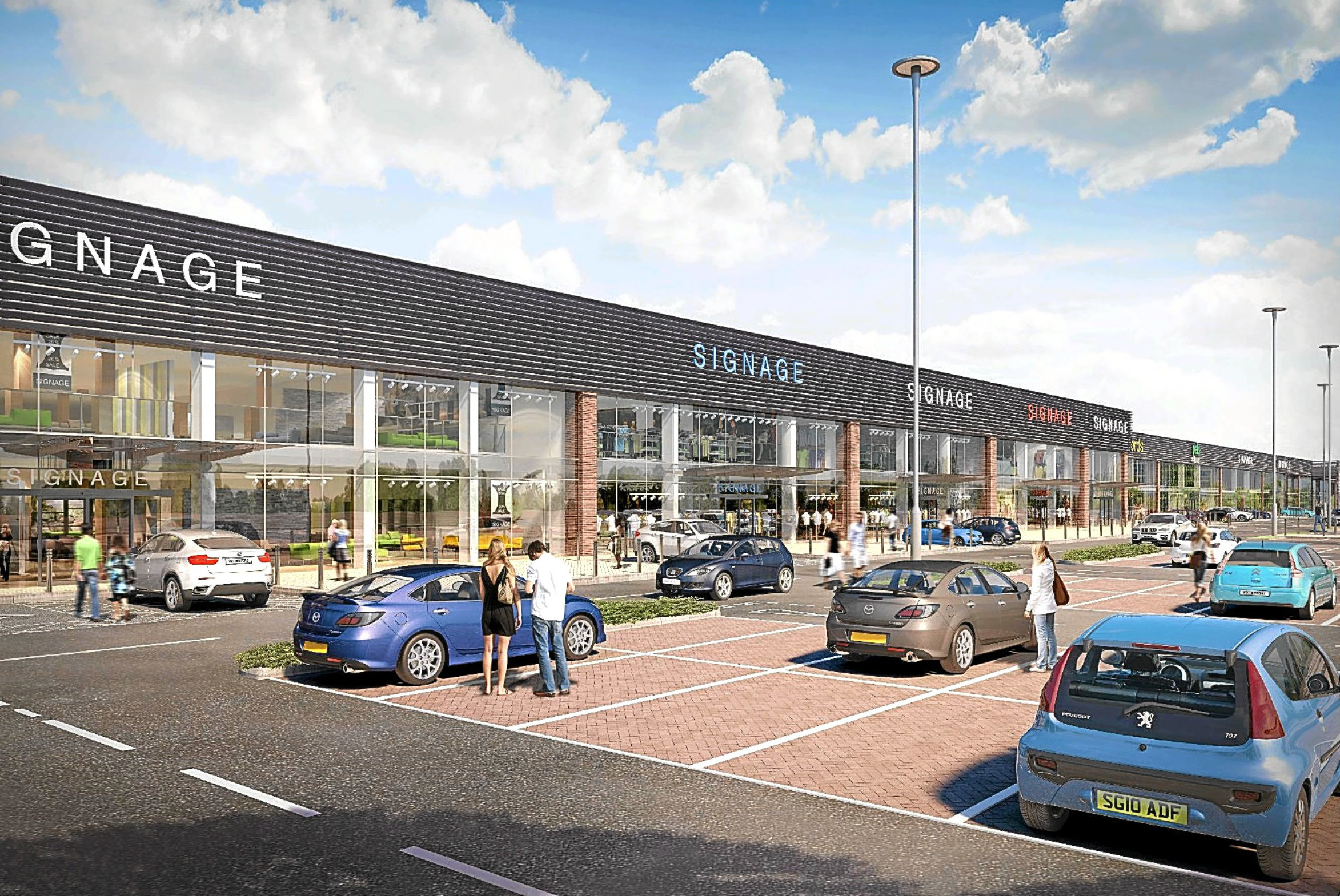 An artist's impression of the proposed expansion of the Fife Central Retail Park,  that were rejected.