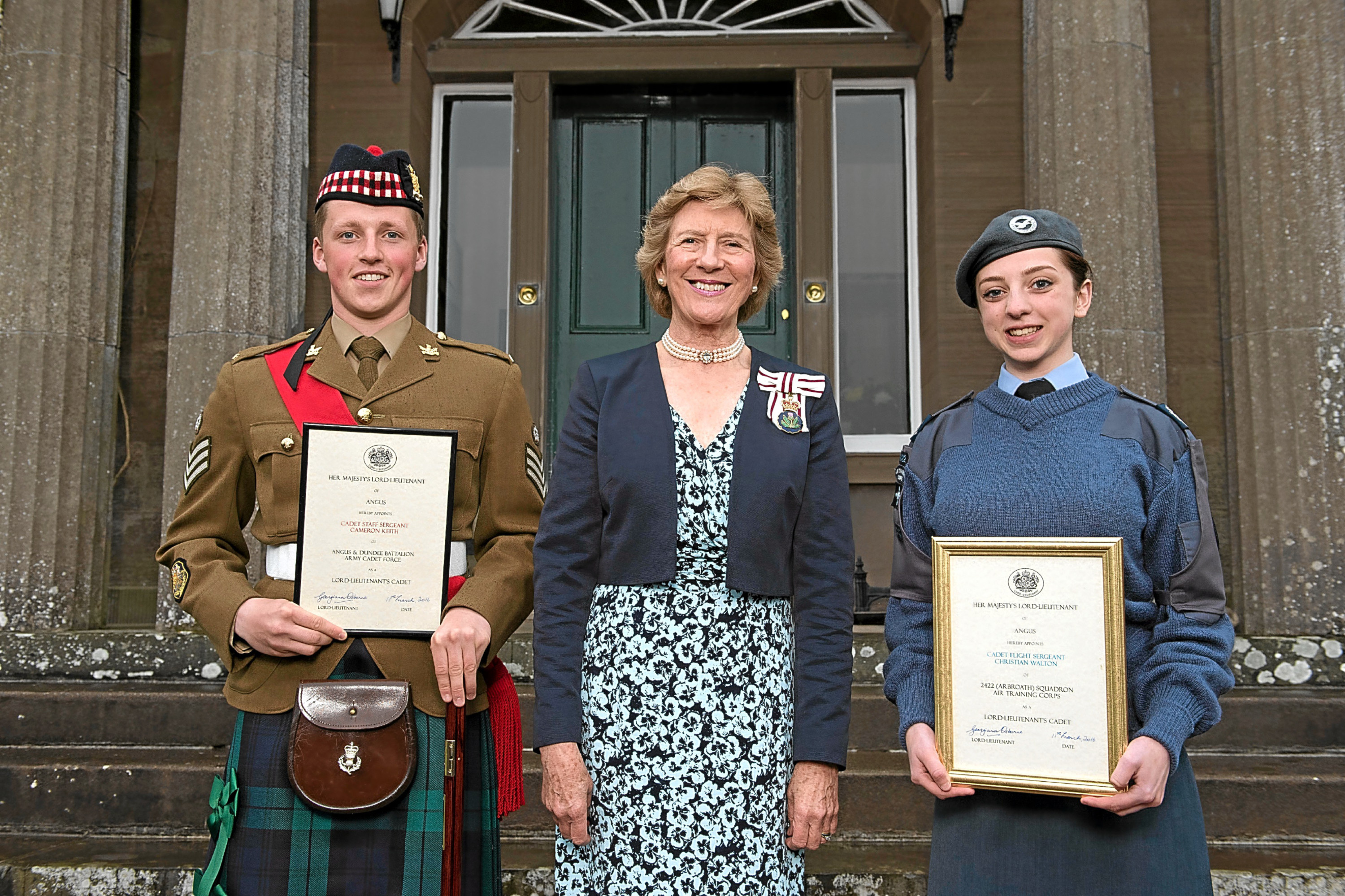 Staff Sergeant Cameron Keith from Forfar and Flight Sergeant Christian Walton from Arbroath were presented with their certificates by Georgiana Osbourne.