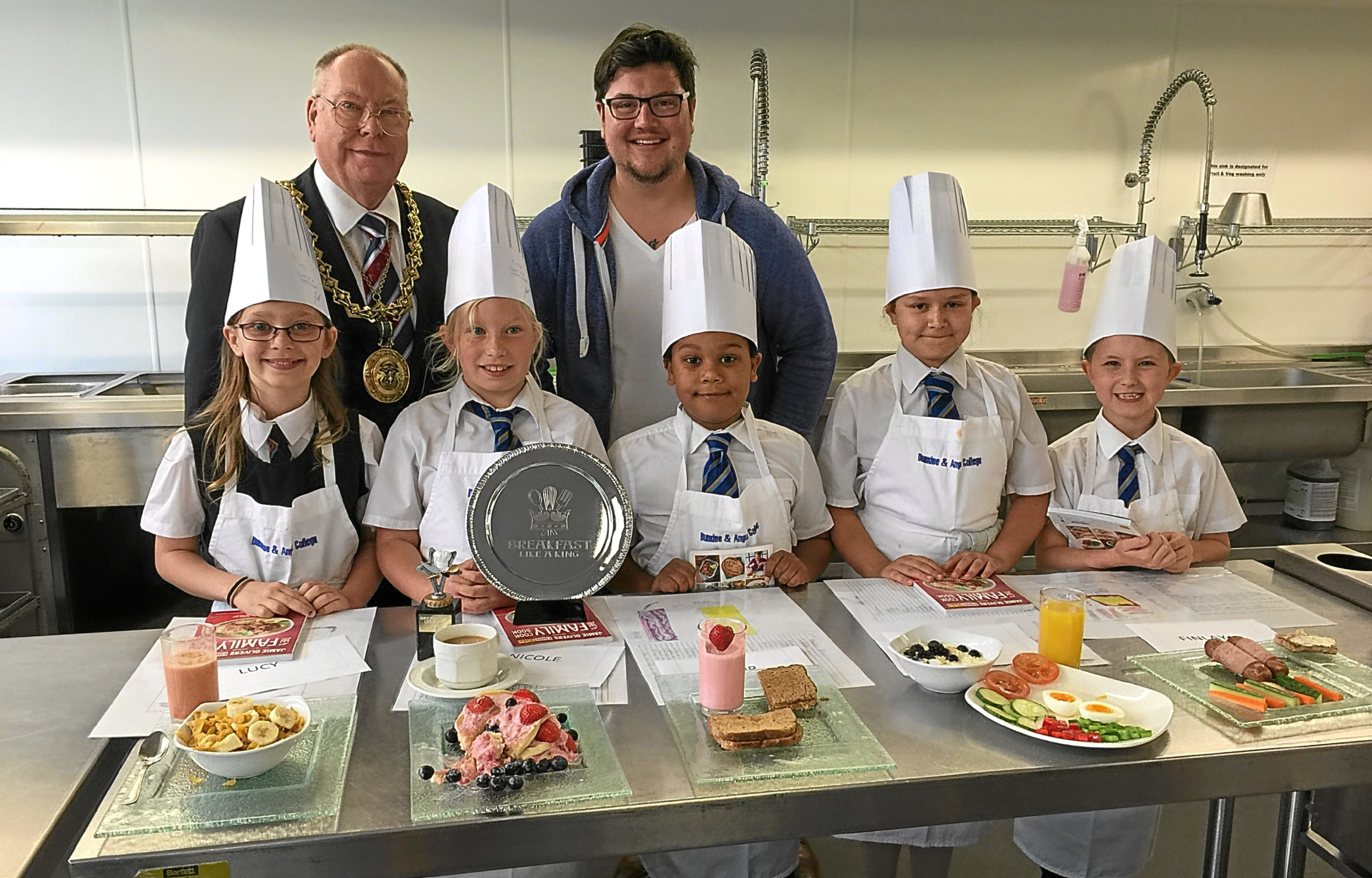 Breakfast for a King at D&A College: Judged by Lord Provost Bob Duncan and Masterchef 2014 winner, Jamie Scott, a former college student, finallists (from left): Lucy Clark, Nicole Paszkier, with the winner's trophy, Philip Wieczorek, Zosia Mazanik and Finlay McBrearty.