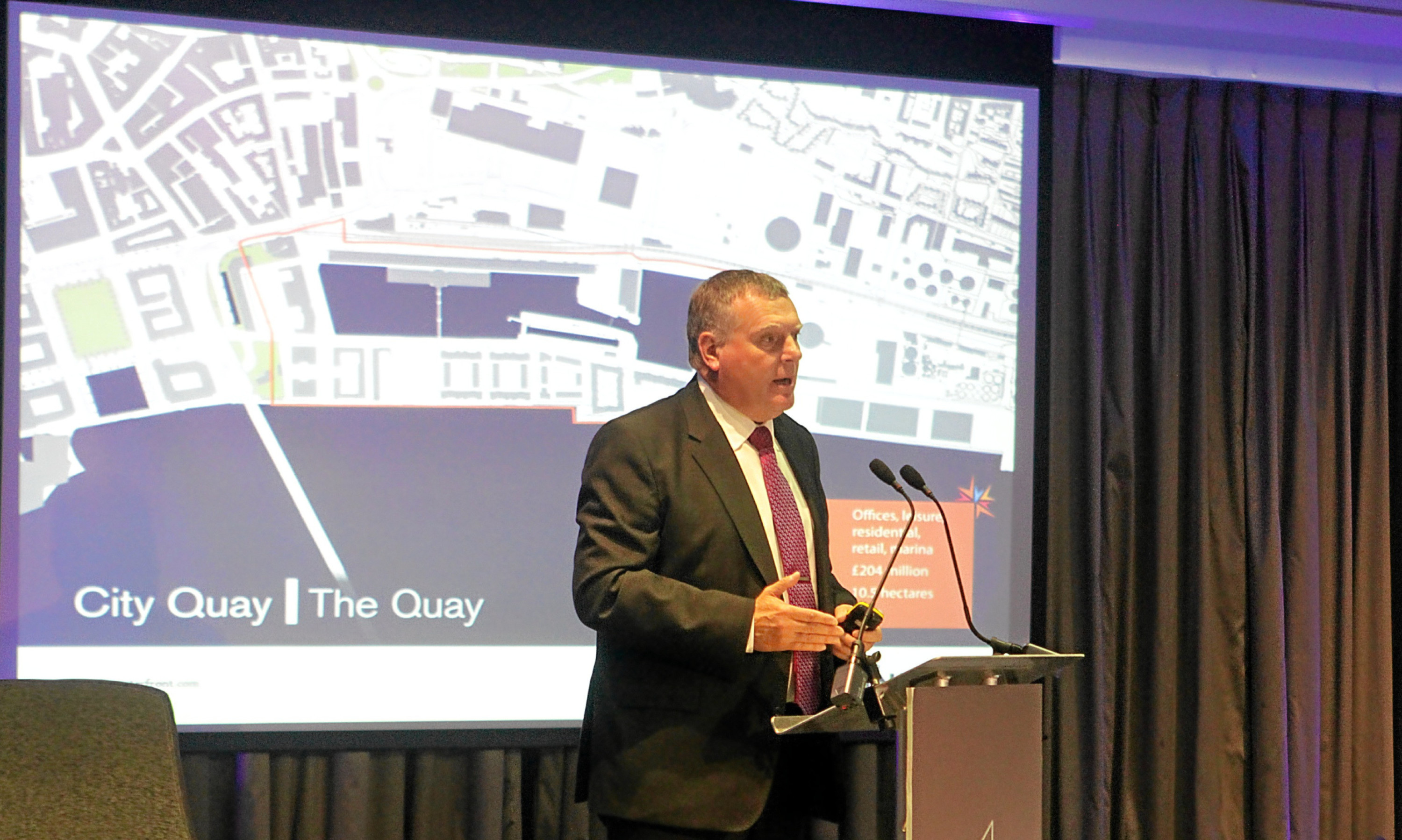 Mike Galloway discussing the waterfront regeneration.