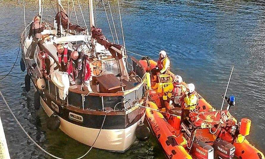 Stonehaven lifeboat brought the vessel to safety.