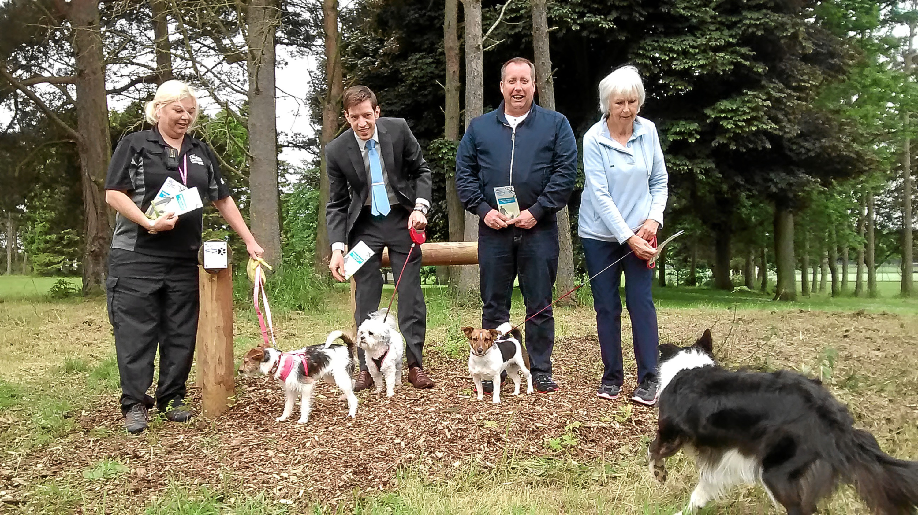 From left:  Animal Control Officer Hilary Nicholson, Councillor John Alexander, Blair Cochrane from Ancrum Dog Training and Sandra Boe from Discovery Dog Club.
