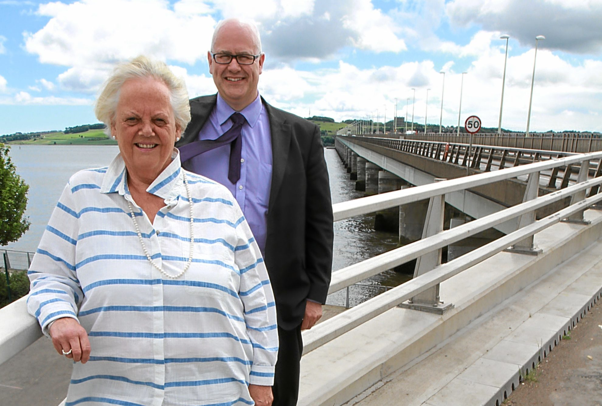 Chair of Tay Road Bridge joint board, Maggie Taylor with Bridge Manager Alan Hutchinson