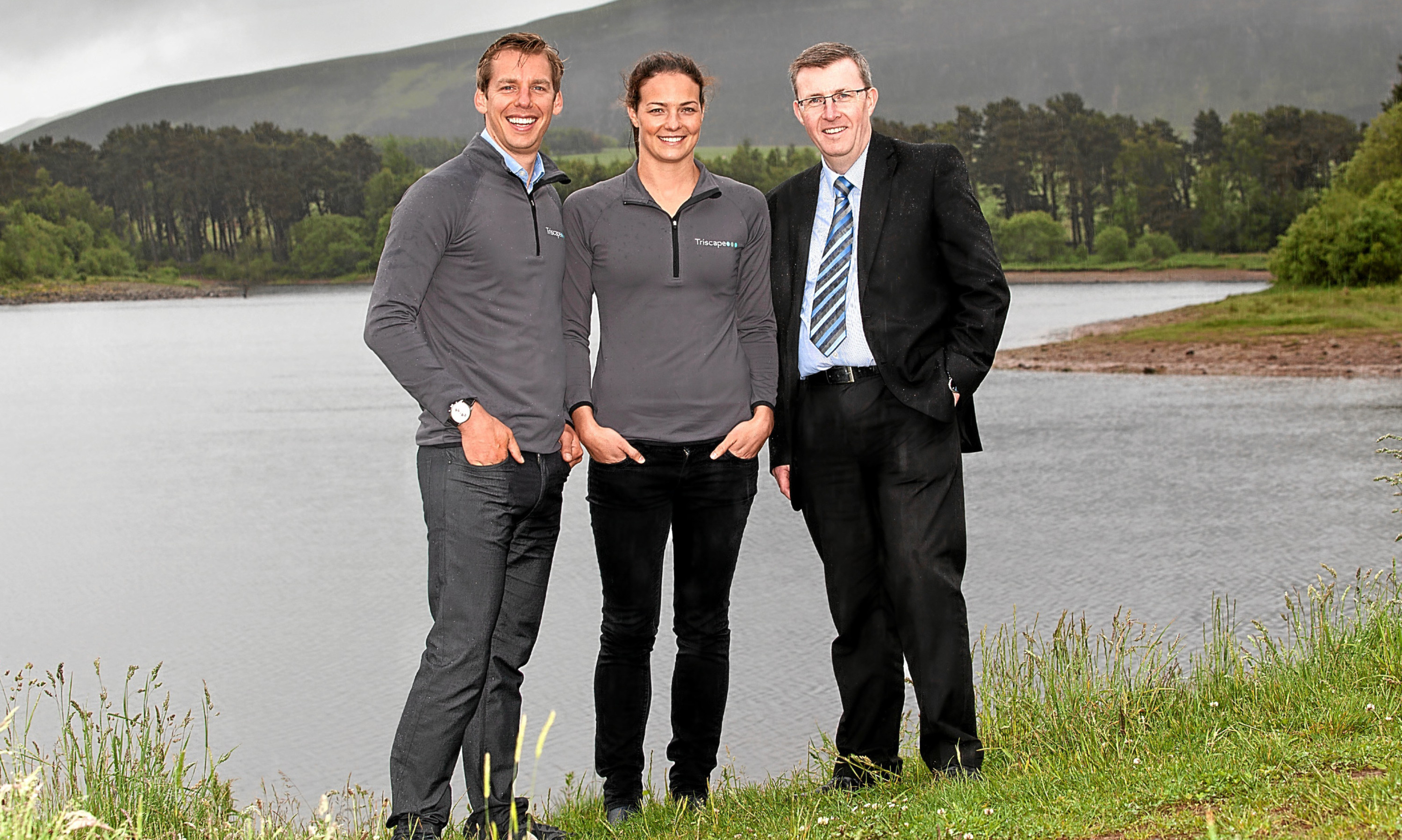 Olympic swimmers Keri-anne Payne and David Carry from Triscape with Kevin Thomson from the Clydesdale Bank