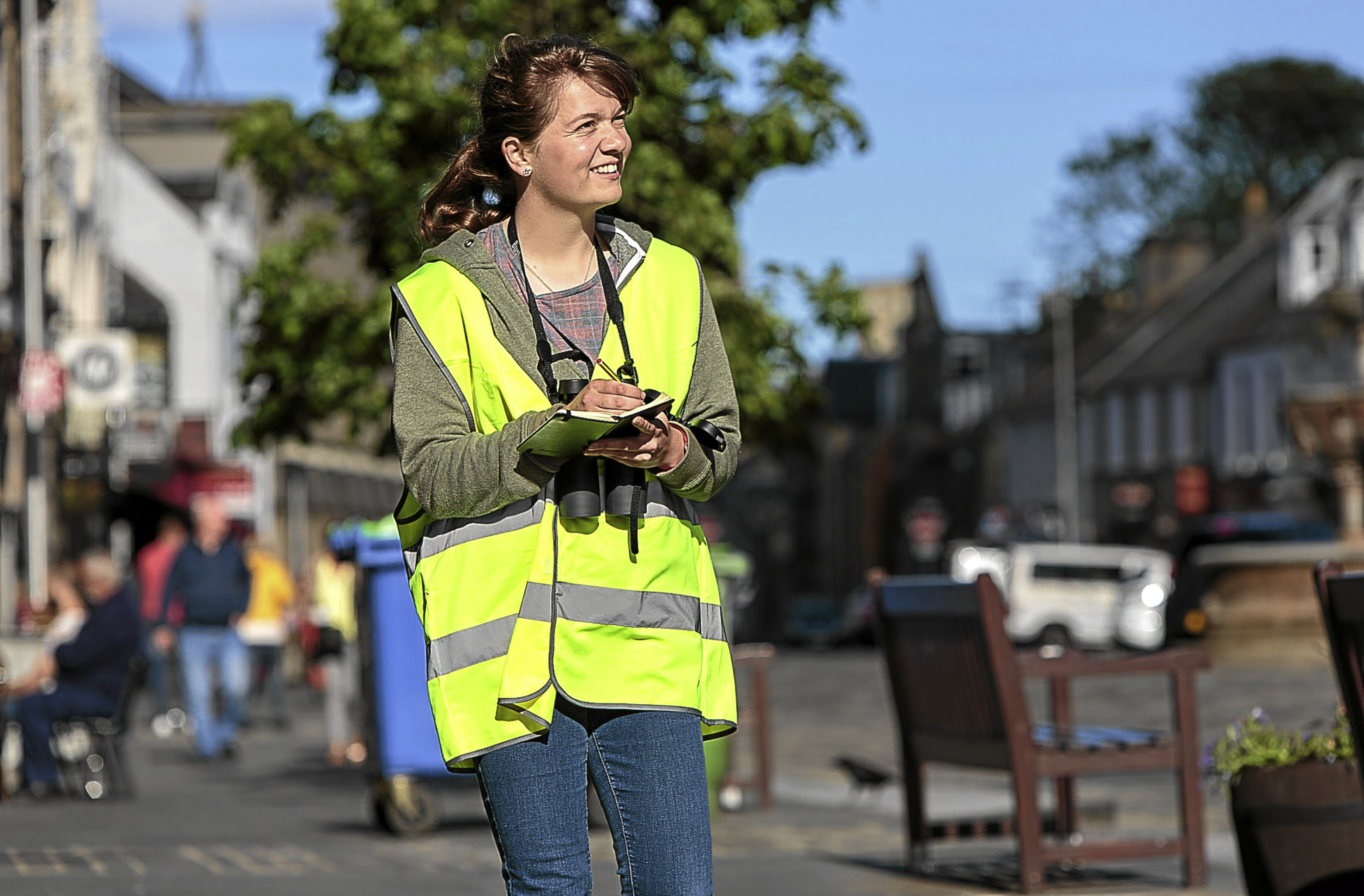 Grania Smith surveying on Market Street in St Andrews.