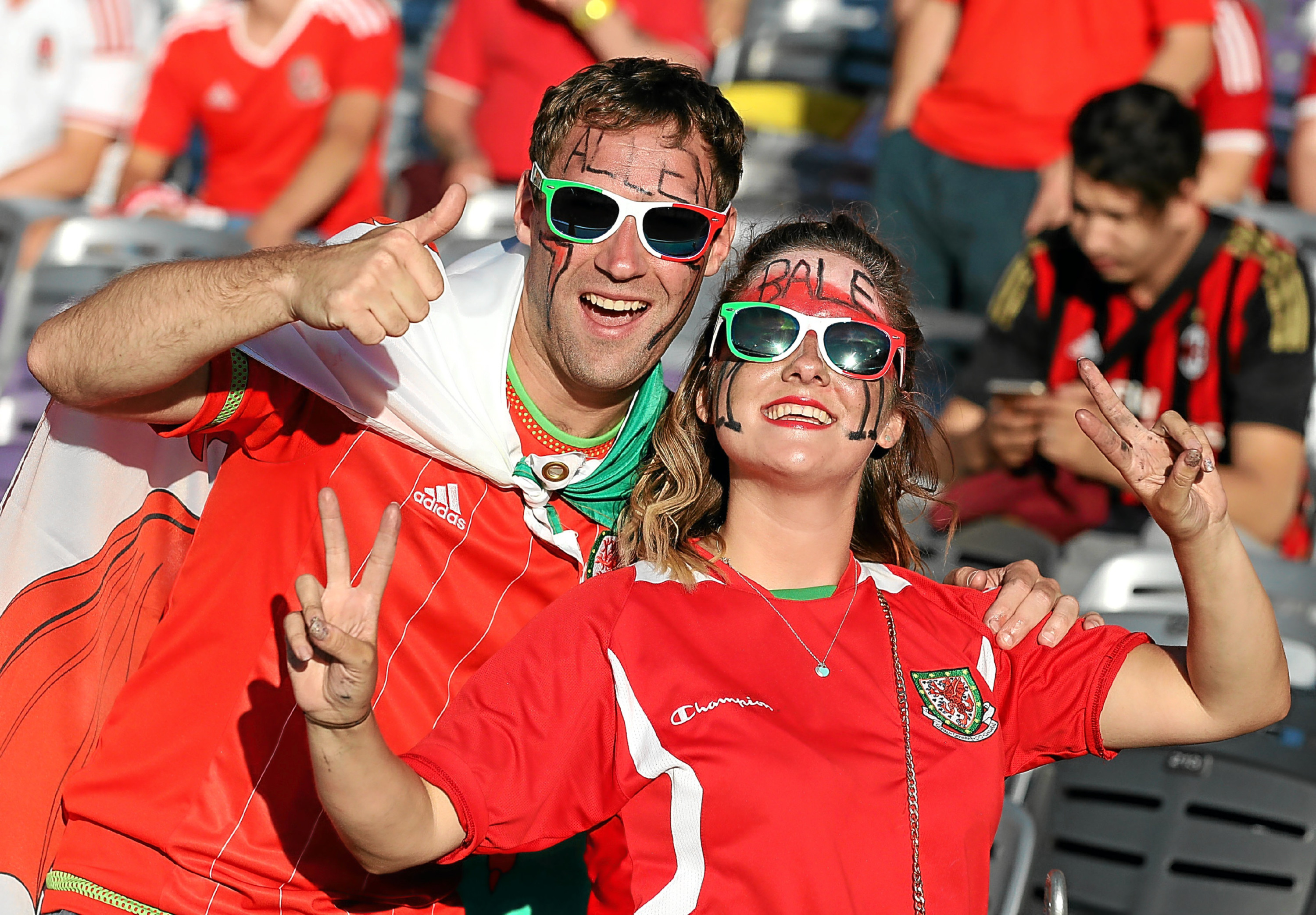 Happy Welsh football fans in Toulouse, which they have now renamed Two-win..