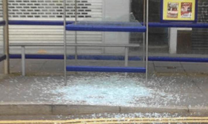 Vandalism to Lochee bus shelter.