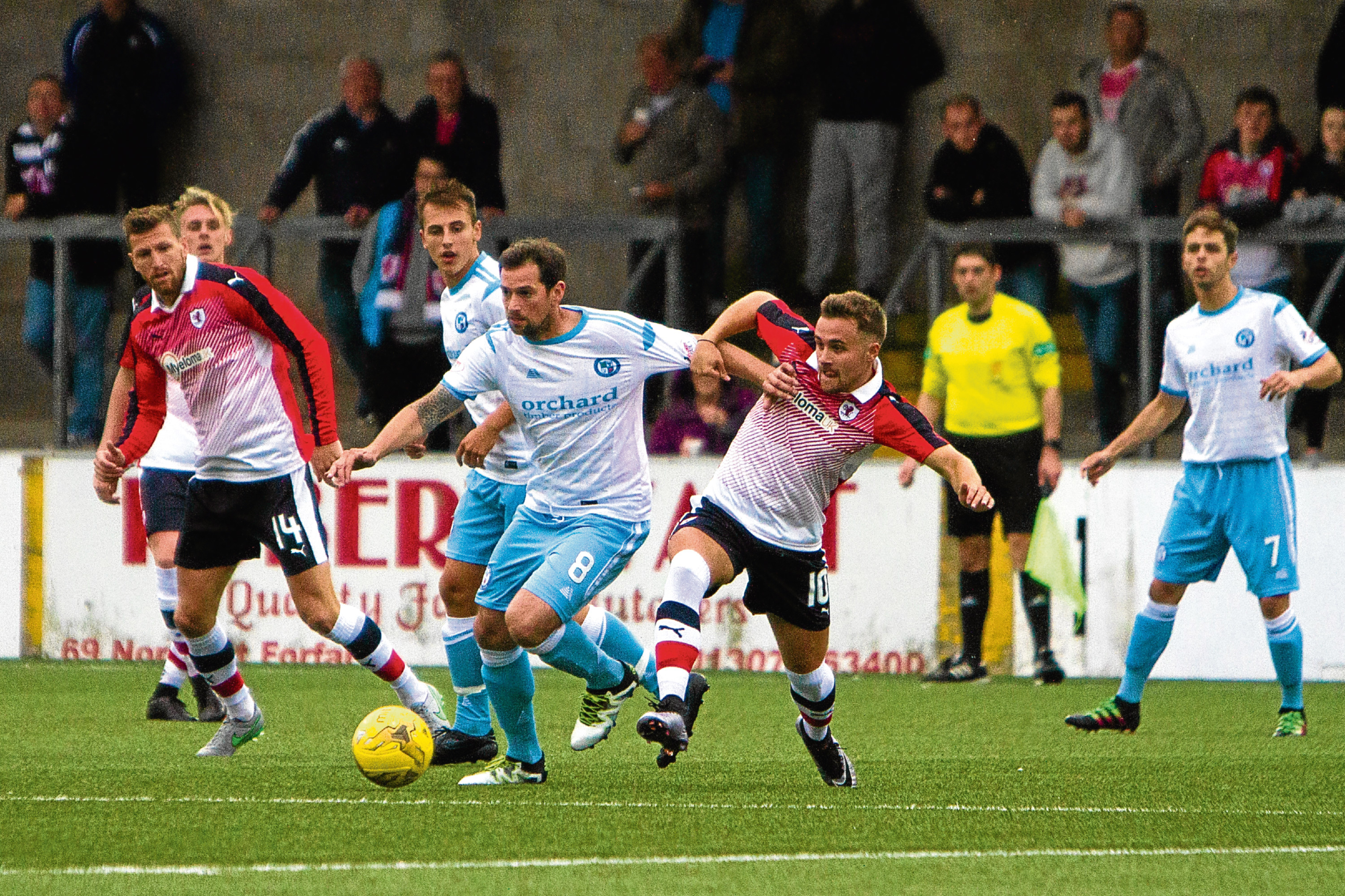 Action from a previous Forfar v Raith game at Station Park.