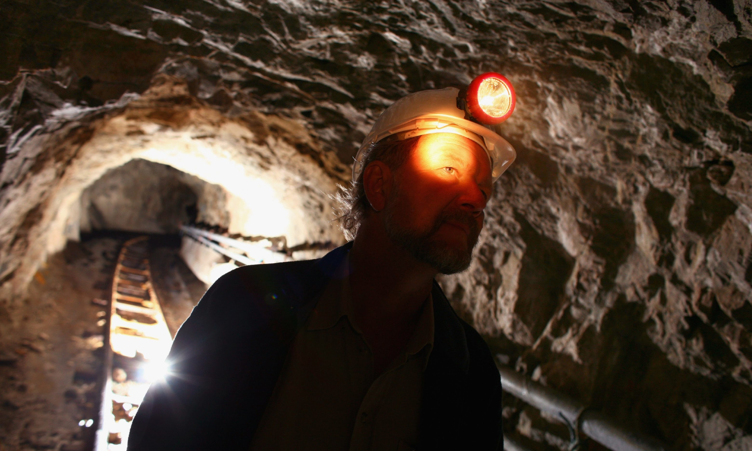 Chris Sangster, chief executive of Scotgold inspects the Tyndrum gold mine