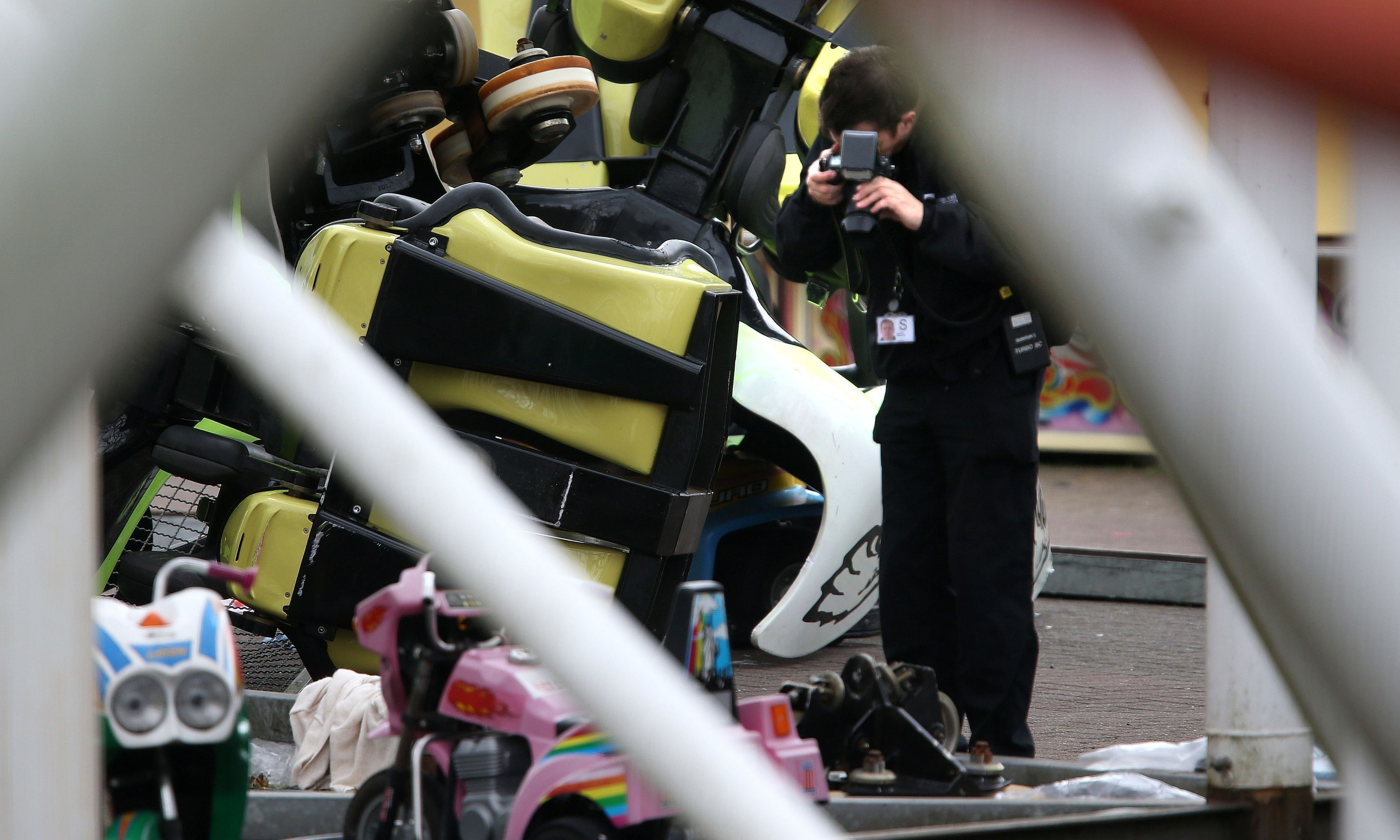The Health and Safety Executive at the scene of the  rollercoaster crash.