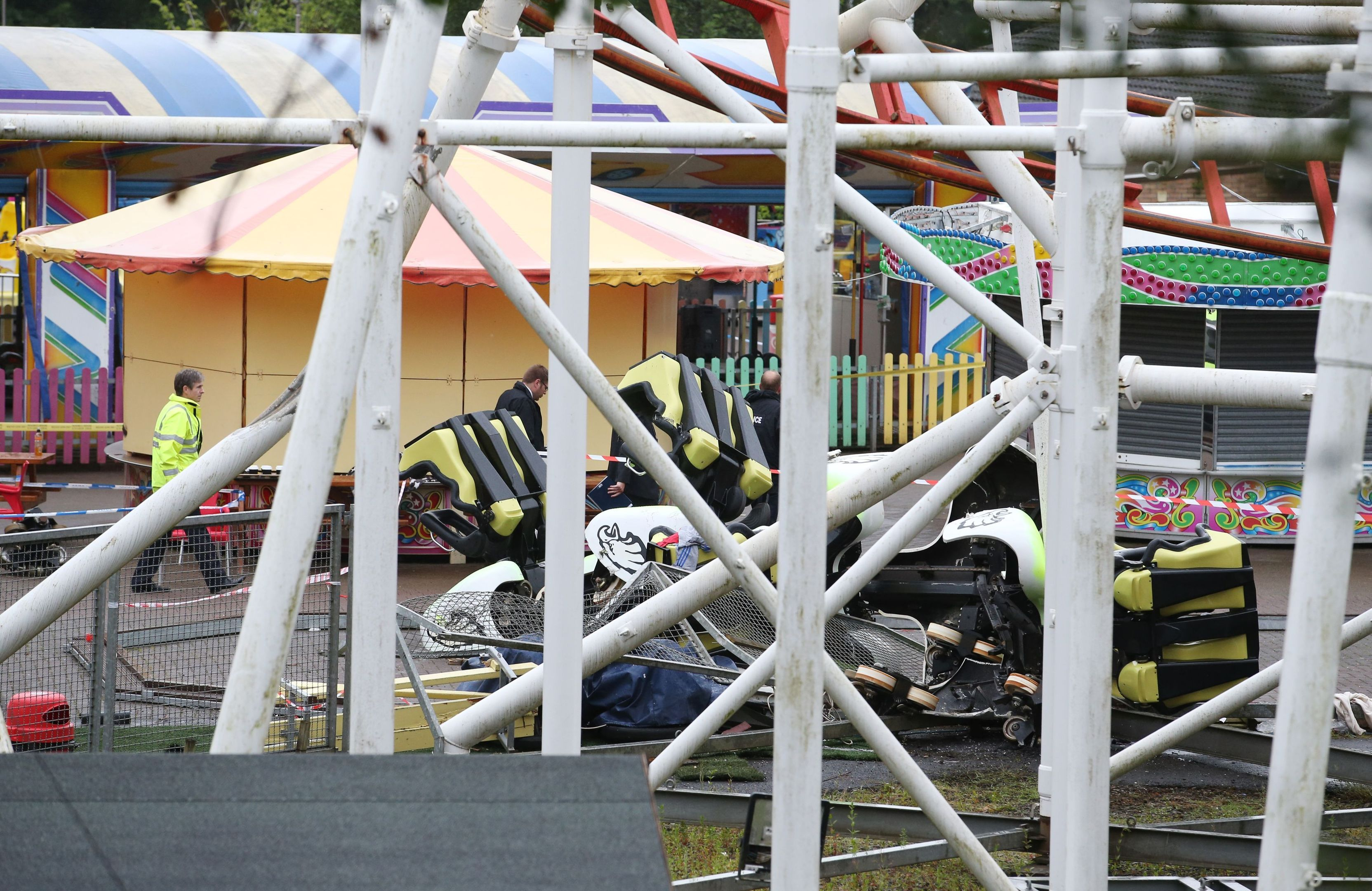 Mangled wreckage at M&D's amusement park in Motherwell, after the Tsunami rollercoaster derailed.