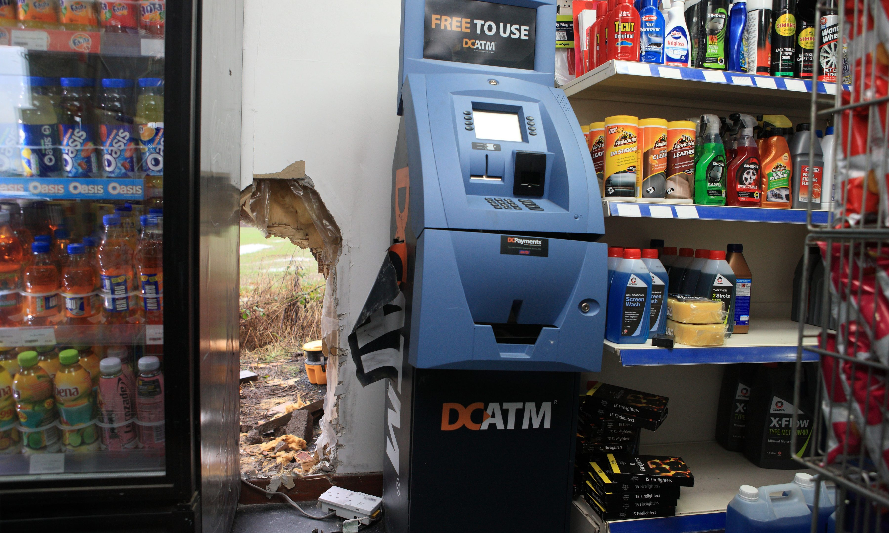 Damage to the Jet garage premises near Almondbank, aftre the ATM was targeted by thieves in January.