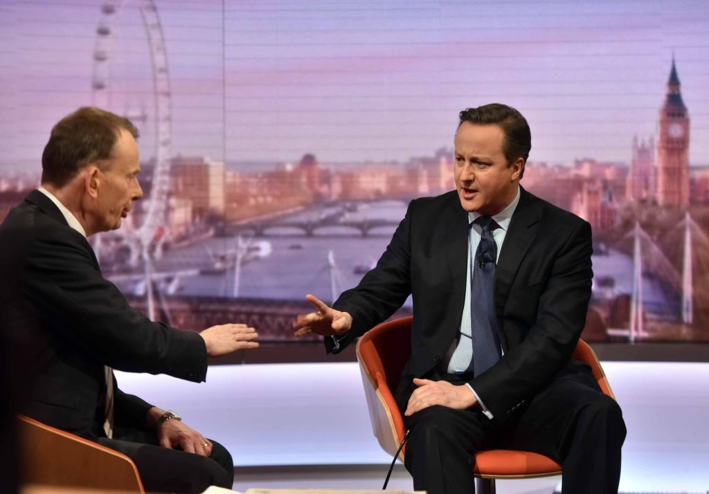 Journalist Andrew Marr left) has strong Angus connections. Will he make the 200? He is pictured interviewing Prime Minister David Cameron