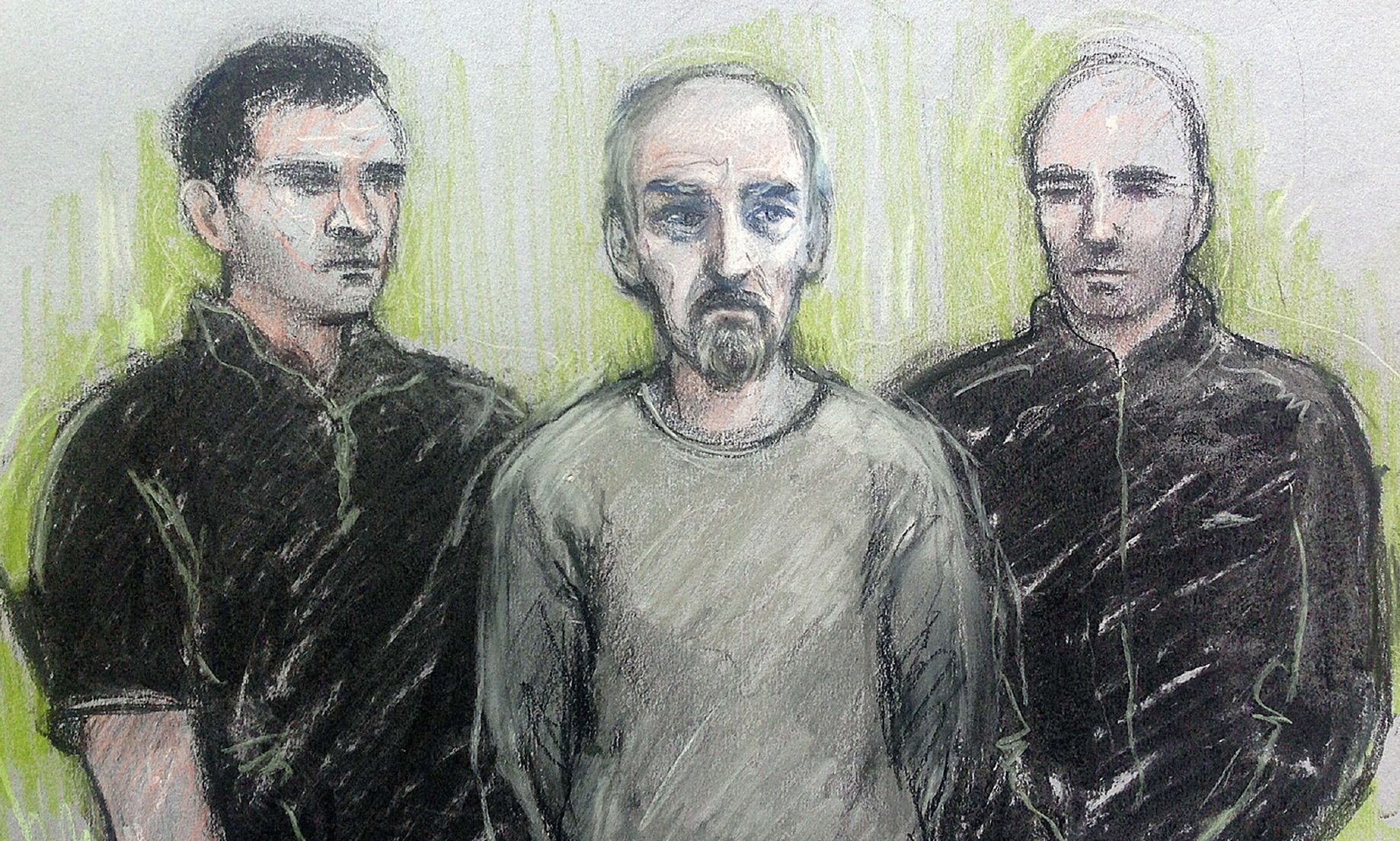 An artist's sketch of Thomas Mair at Westminster Magistrates' Court.