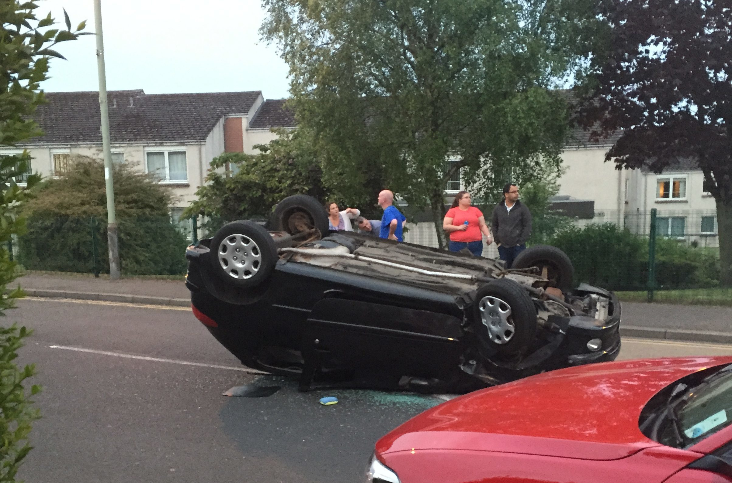 The overturned car at Monifieth.