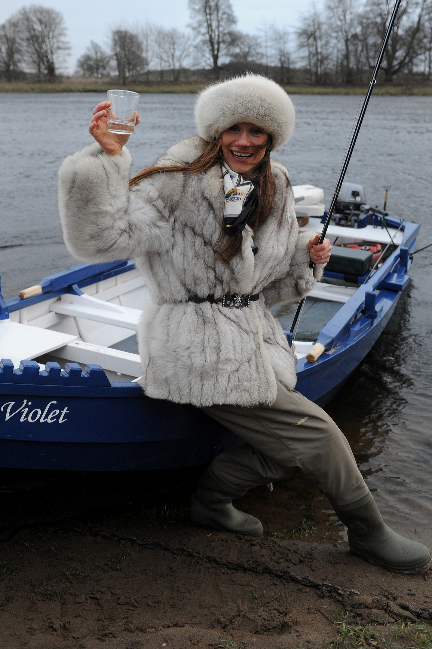 Claire Mercer Nairne blessing a new boat on the River Tay in early 2015.