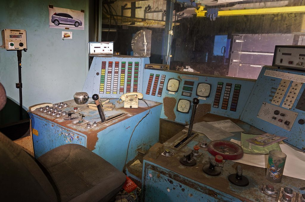 Control room inside Castlebridge Colliery near Alloa.