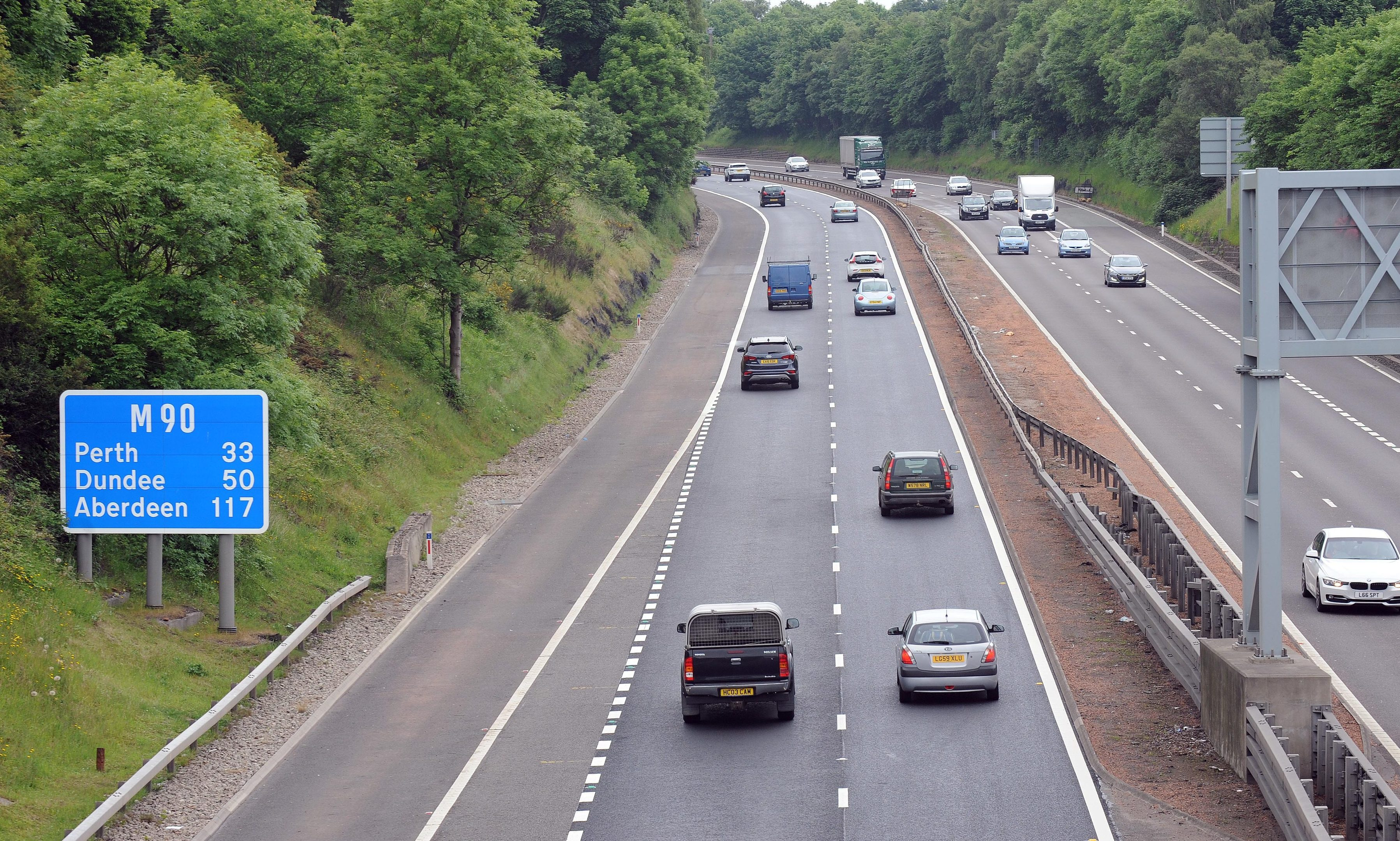 The M90 motorway.
