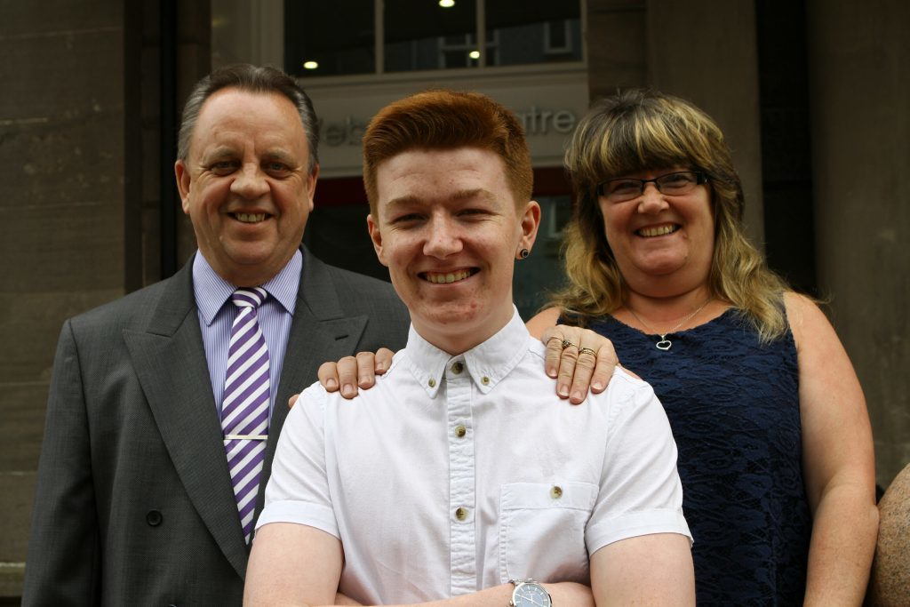 Culture & Sports Development prizewinner Lee Myles with his parents, Iain & Moira Robb.