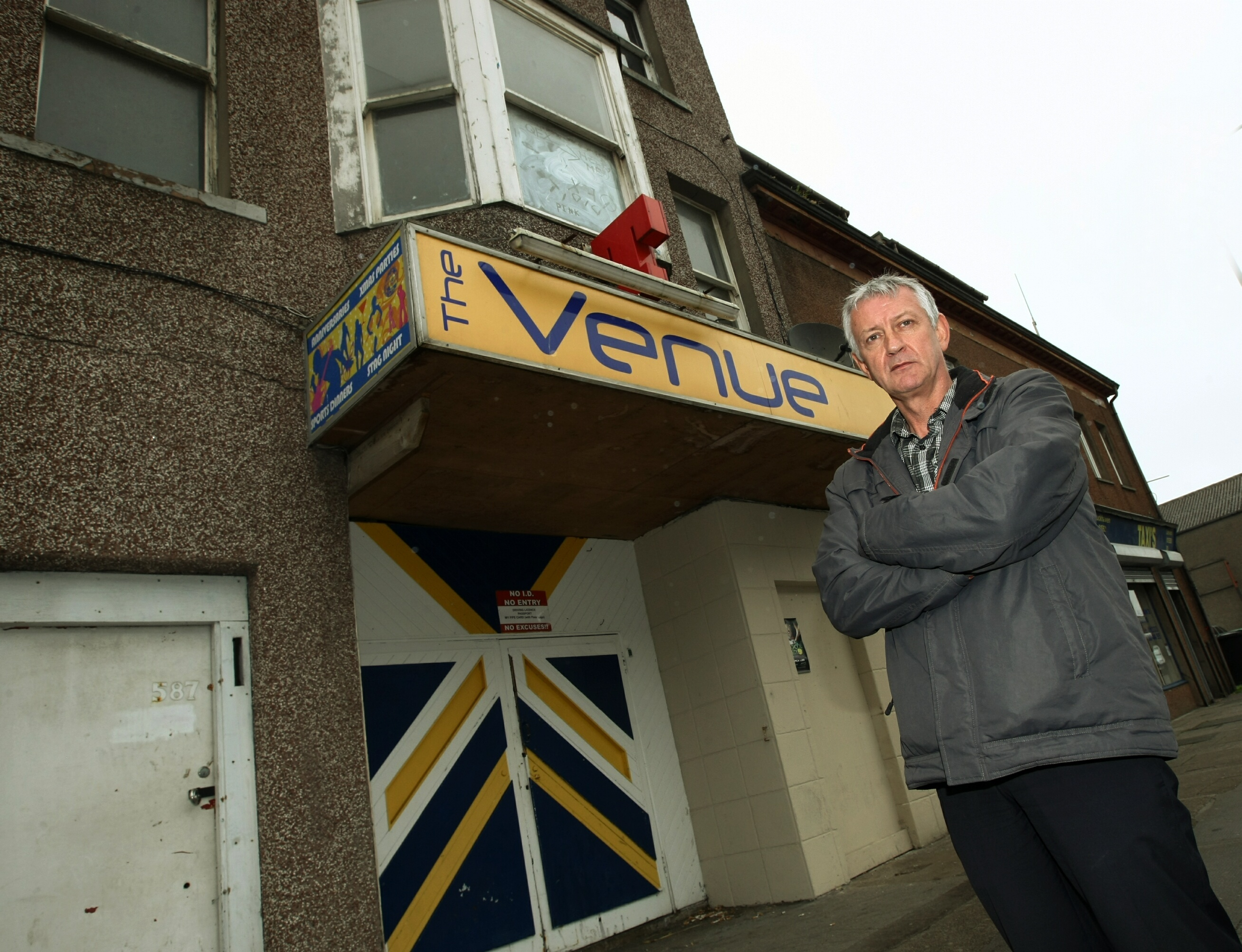 Councillor Tom Adams outside the Venue club in Methil.