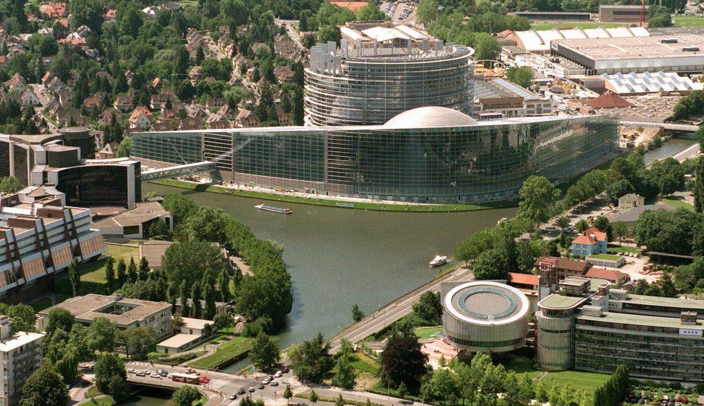The European parliament in Strasbourg, France.