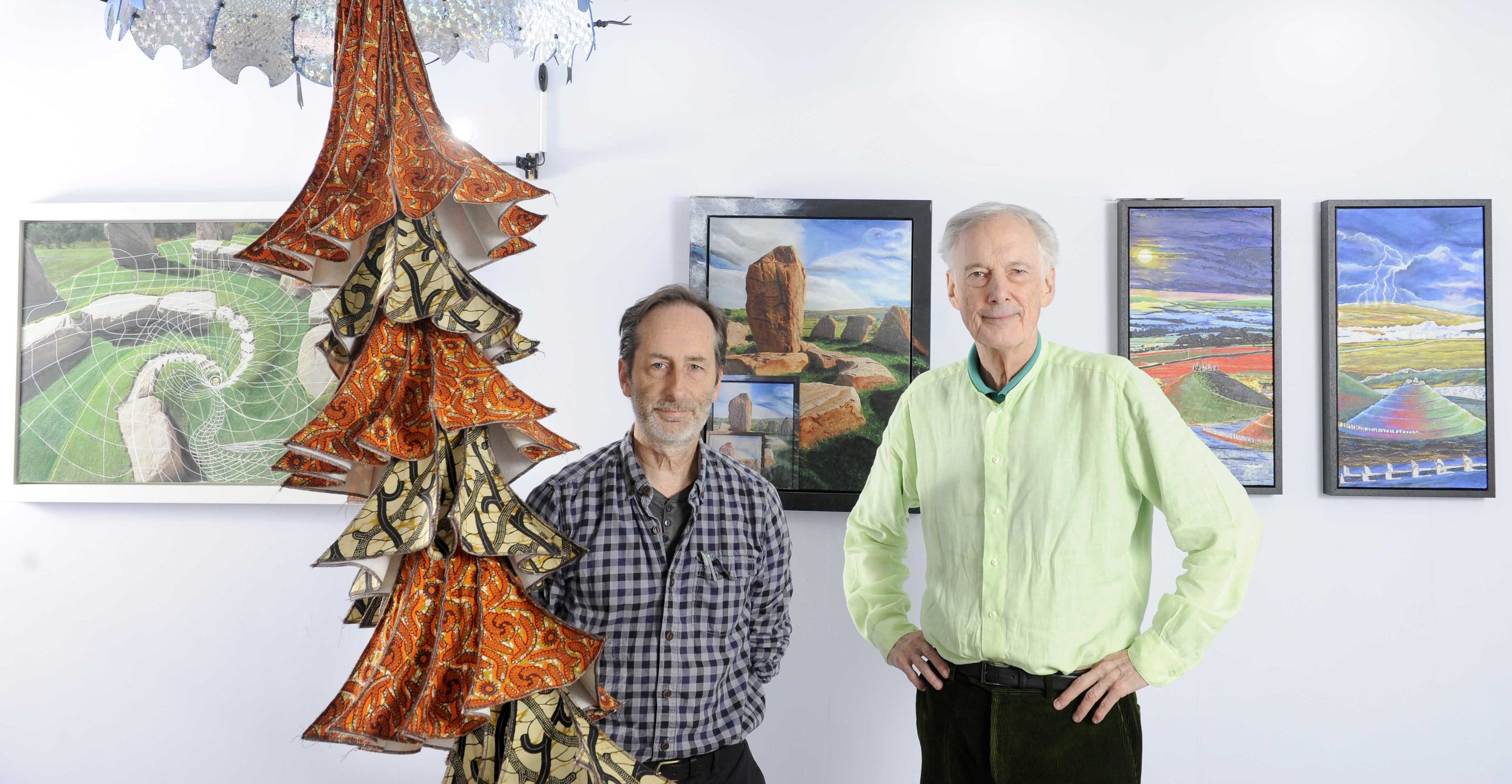 Curator Tim Fitzpatrick (left) with artist Charles Jencks and a textile sculpture by Alex Rigg entitled Black Hole, Black Coal.