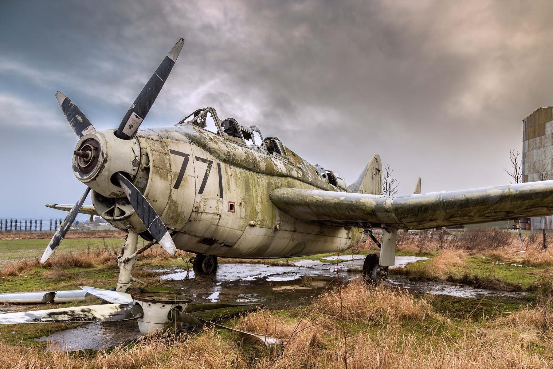 Fairey Gannet airplane at Errol airfield.