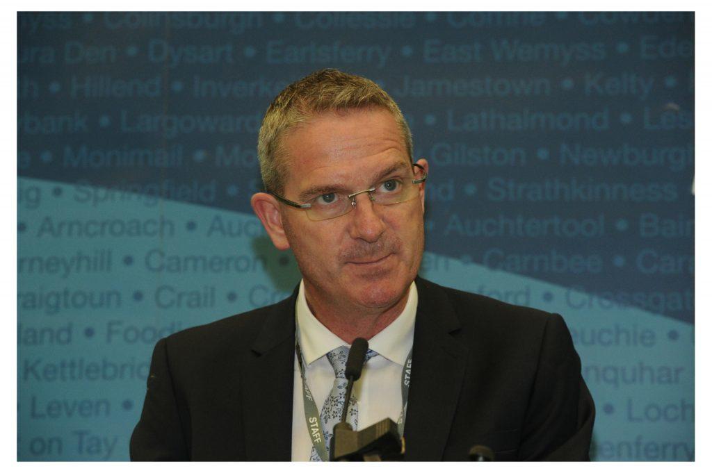 Returning officer Steve Grimmond announcing the EU Referendum results in Fife in June.