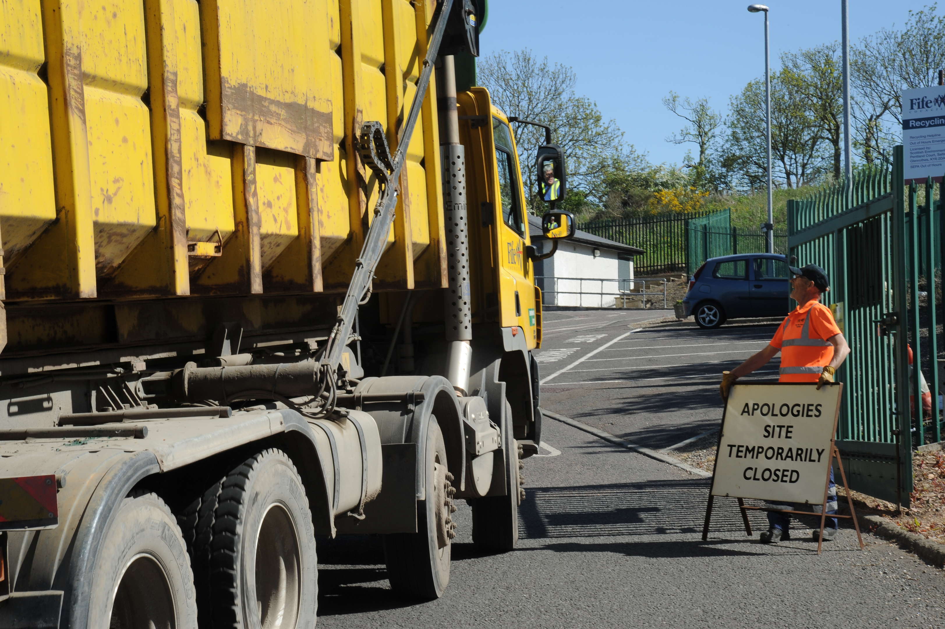 The recycling centre in St Andrews was closed on Wednesday afternoon.