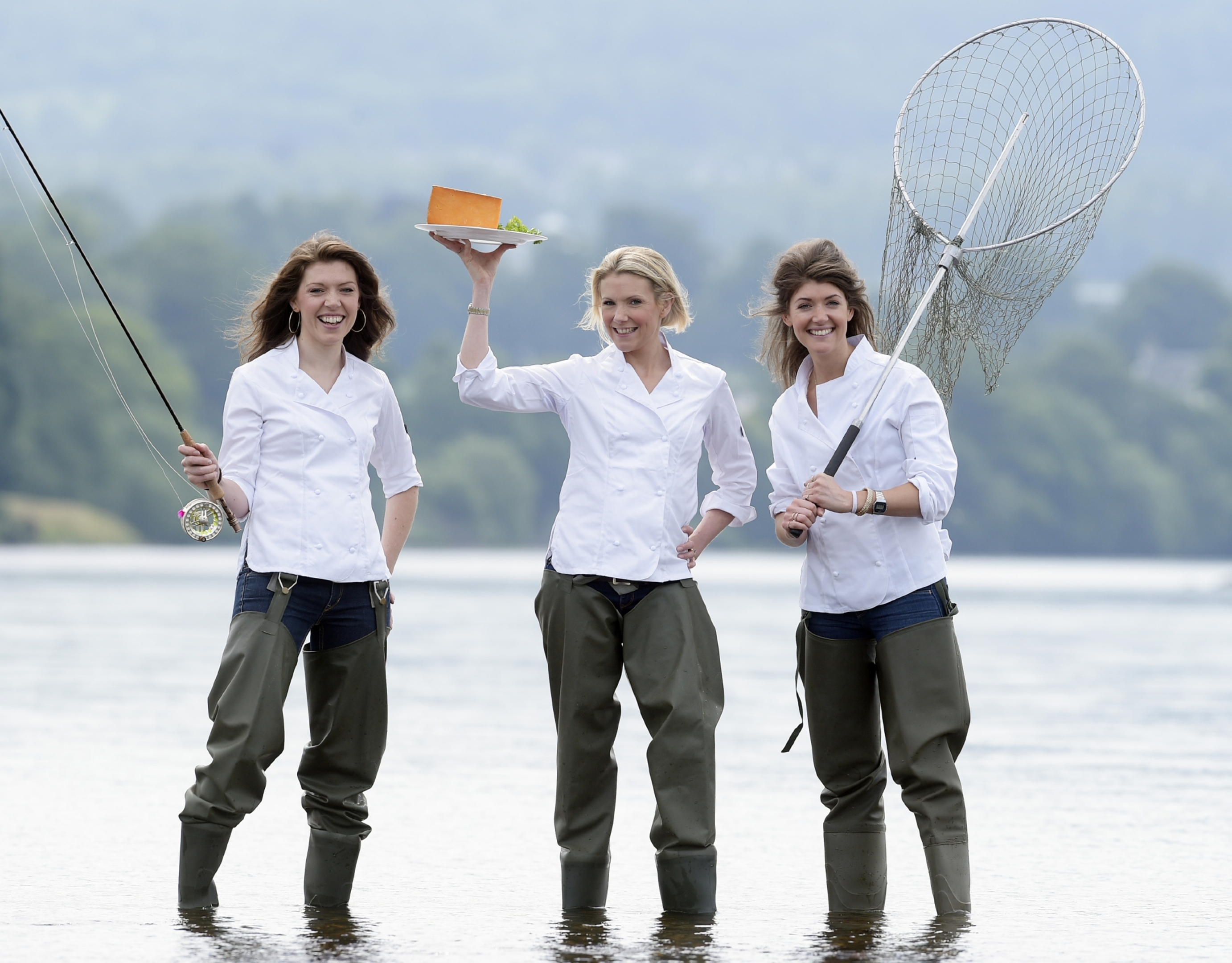 Three Sisters Bake (Gillian, Nichola and Linsey Reith) and Christopher enjoy a spot of fishing on the River Tay ahead of the Scottish Game Fair.