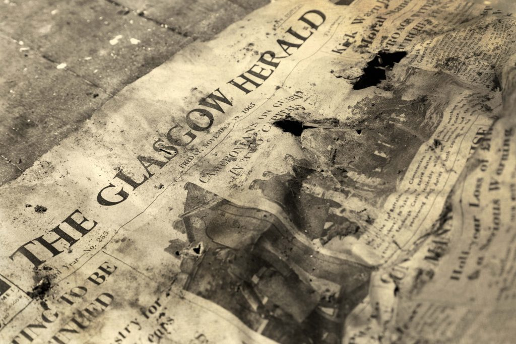 1965 copy of Glasgow Herald found by Lynn Smith inside The Grange mansion house, near St Andrews.