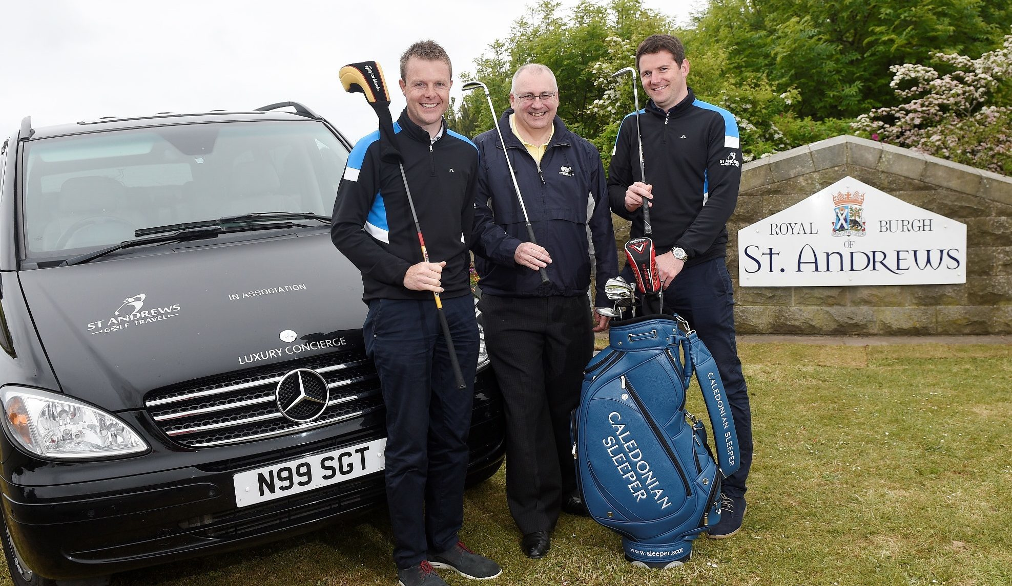 Peter Strachan, managing director of the Caledonian Sleeper, is pictured with Marc Gentles and Graeme Dawson of St Andrews Golf Travel.