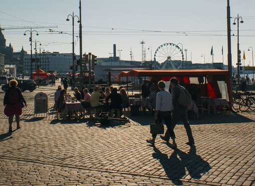 Morning coffee at Helsinki's Market Square.