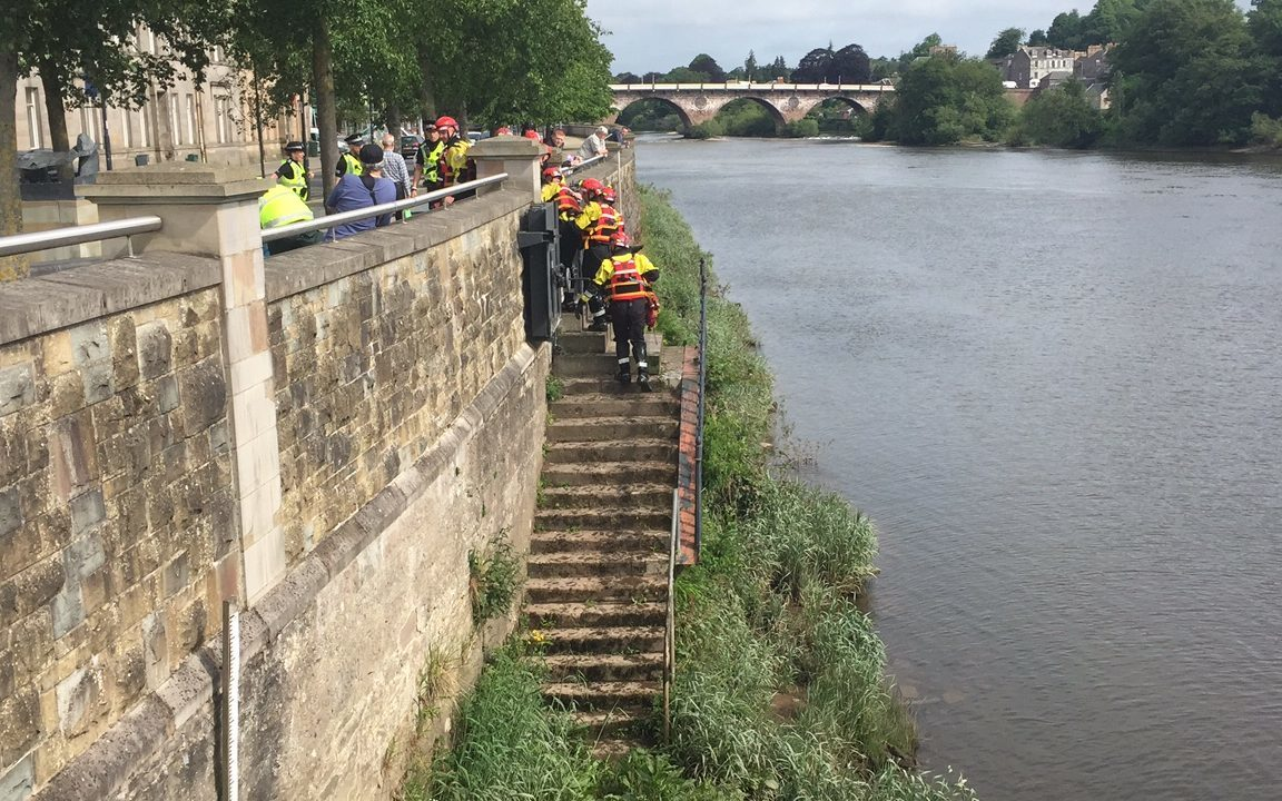 Scottish Fire and Rescue Service water rescue crew pulled the man from the Tay.