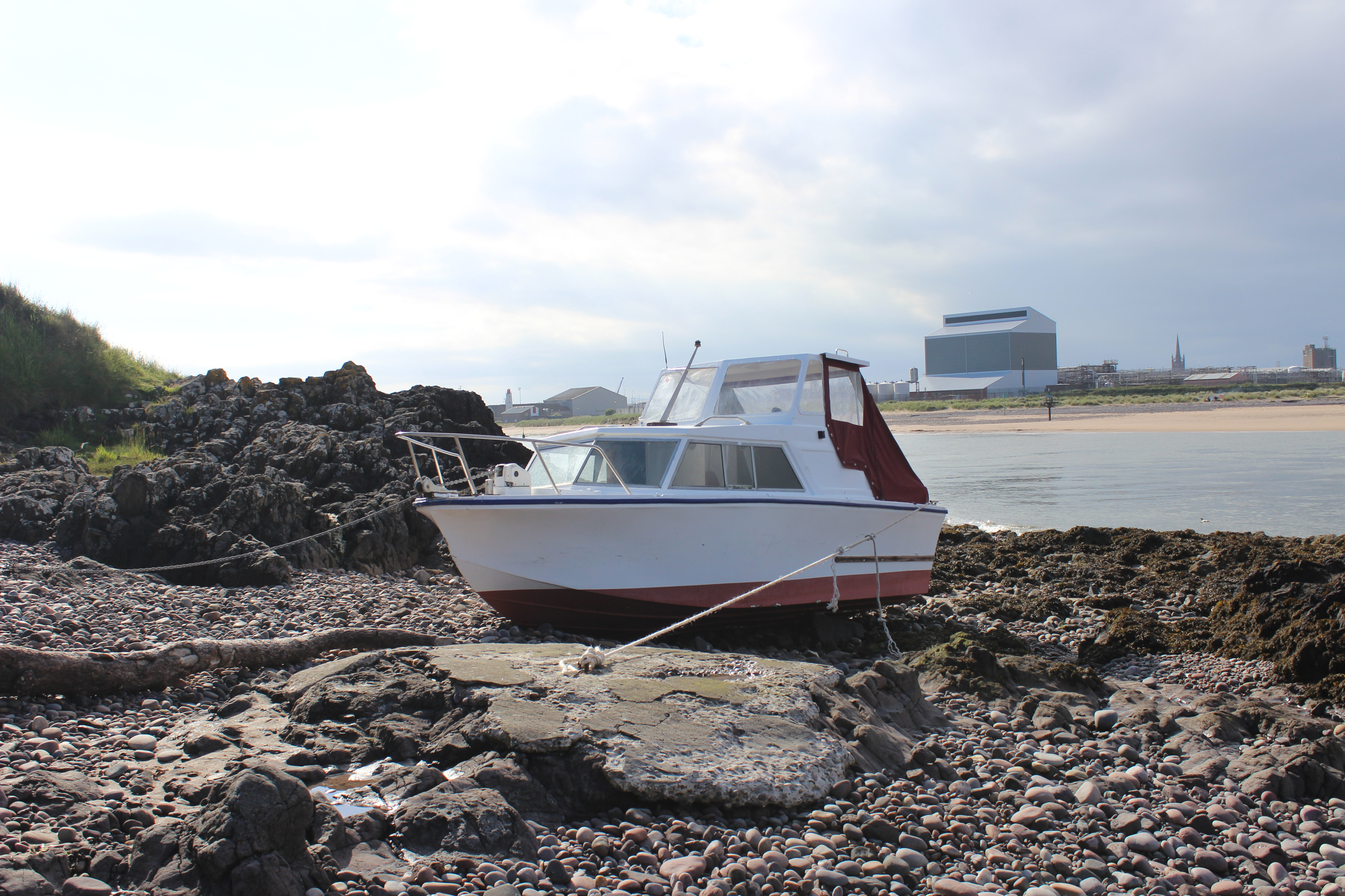 The vessel ran aground on to the rocks near Ferryden due to engine failure.