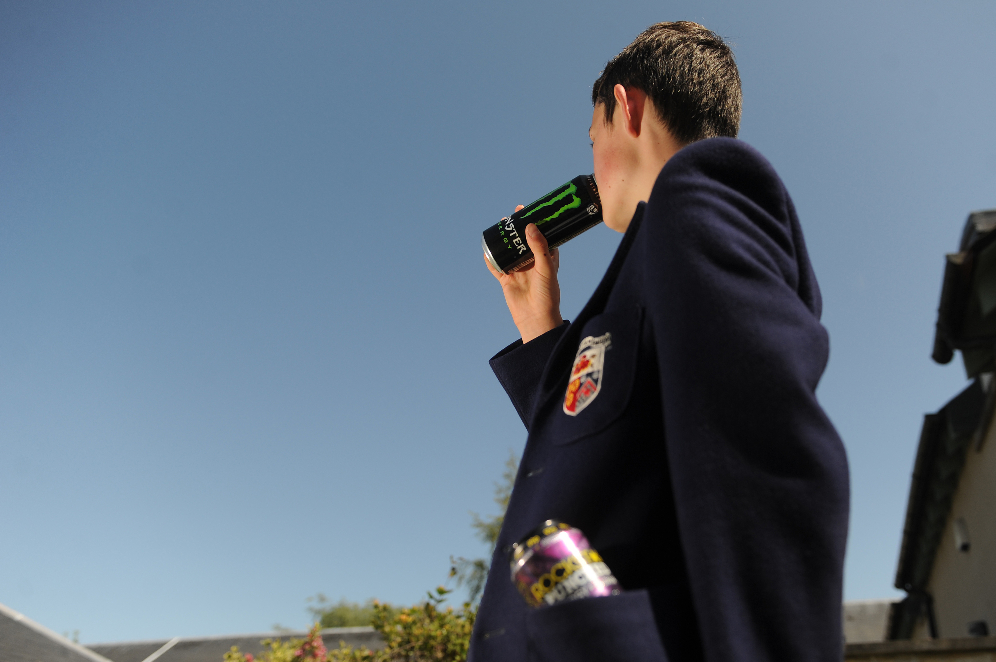 "Consuming so-called ""energy drinks"" has become part of the daily routine for many pupils."