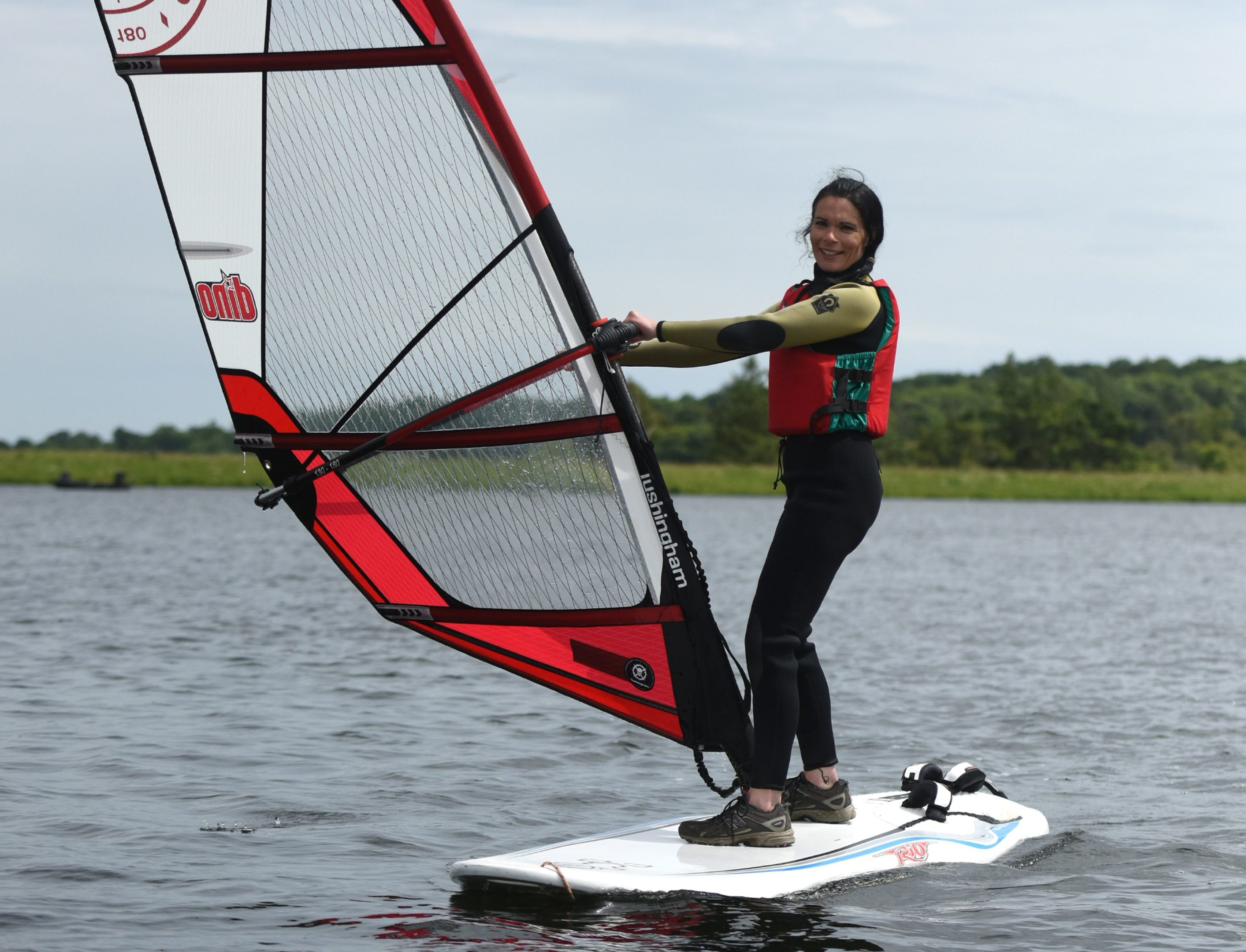 Gayle goes windsurfing at Monikie Country Park.