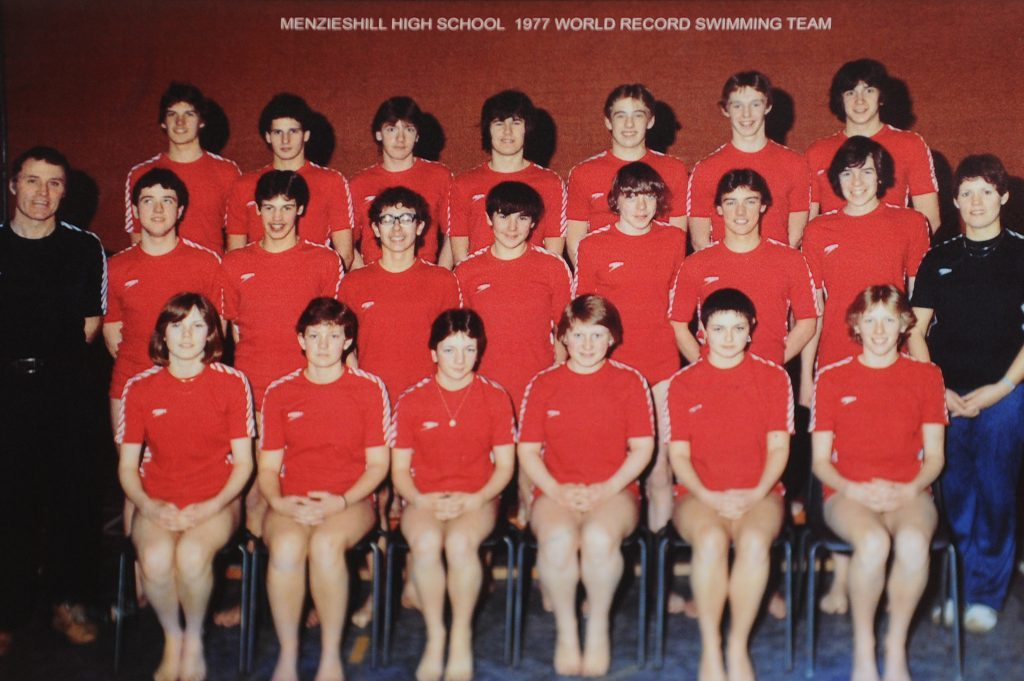 Courier News - Dundee - Jamie Milligan story - Menzieshill High School open day which was an opportunity for former pupils and staff of Menzieshill High School to visit the building for one last time. Picture shows; copy of a picture of the 1977 world record swimming team from the school, a record that still stands today, Menzieshill High School, Yarrow Terrace, Dundee, Tuesday, 28 June 2016