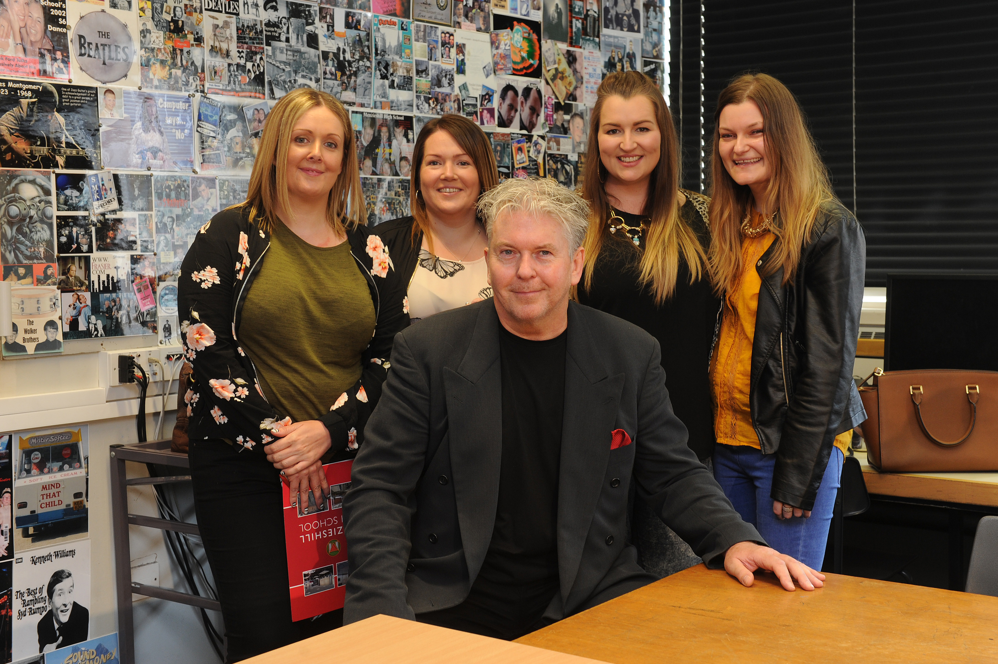 Greg McCaffrey with former pupils (from left) Vicki Lindsay, Suzanne Lindsay, Claire Dunbar and Victoria Vigrow.