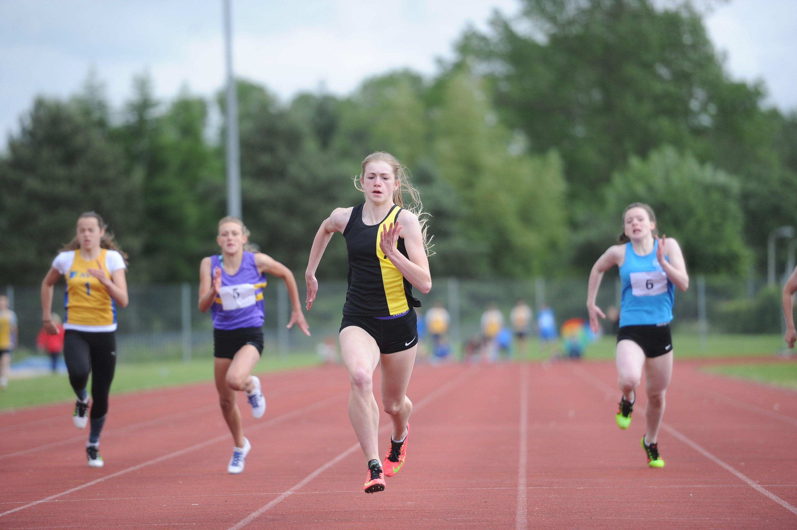 Action from one of the girl's 100m races at the Perth and Kinross Secondary Schools County Sports Championships.