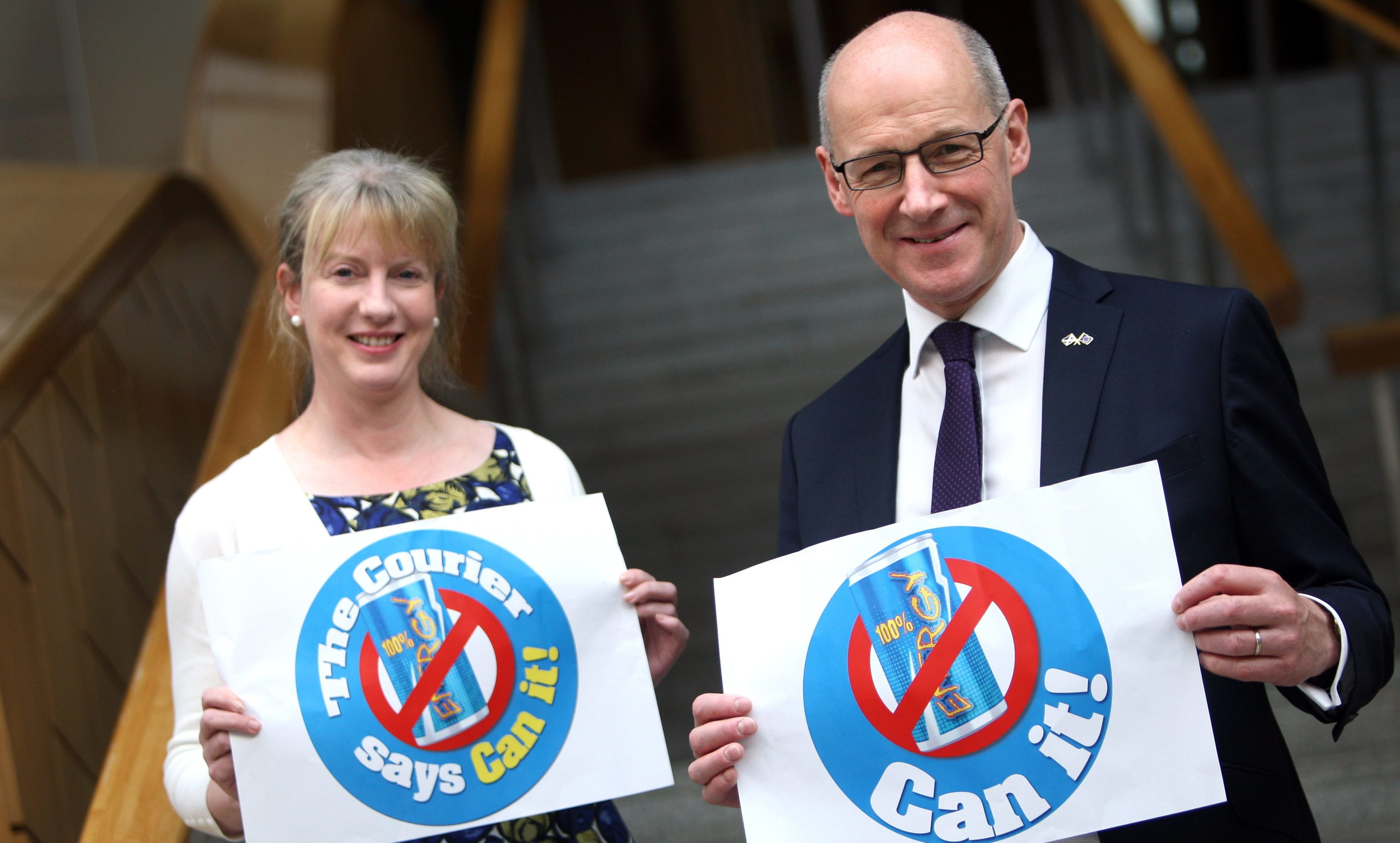 Shona Robison and John Swinney showing their support for our Can It campaign.
