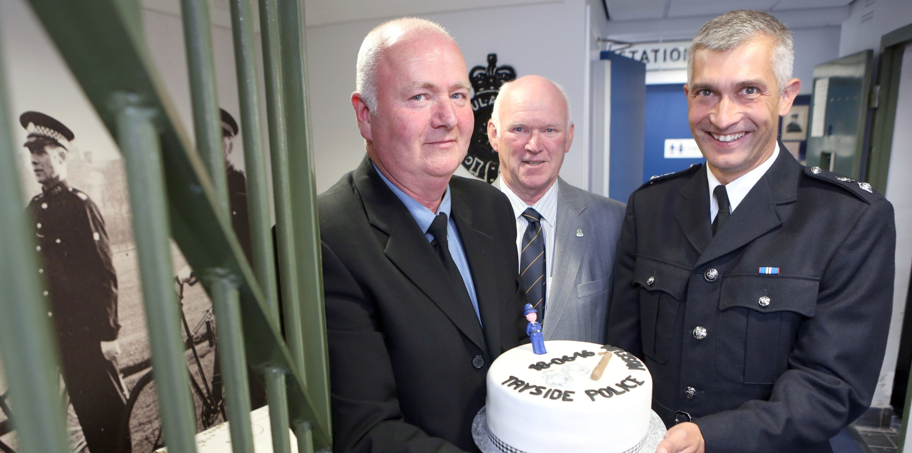 Hamish Gray, former Tayside chief constable Bill Spence and Chief Superintendent Paul Anderson celebrate the new museum.