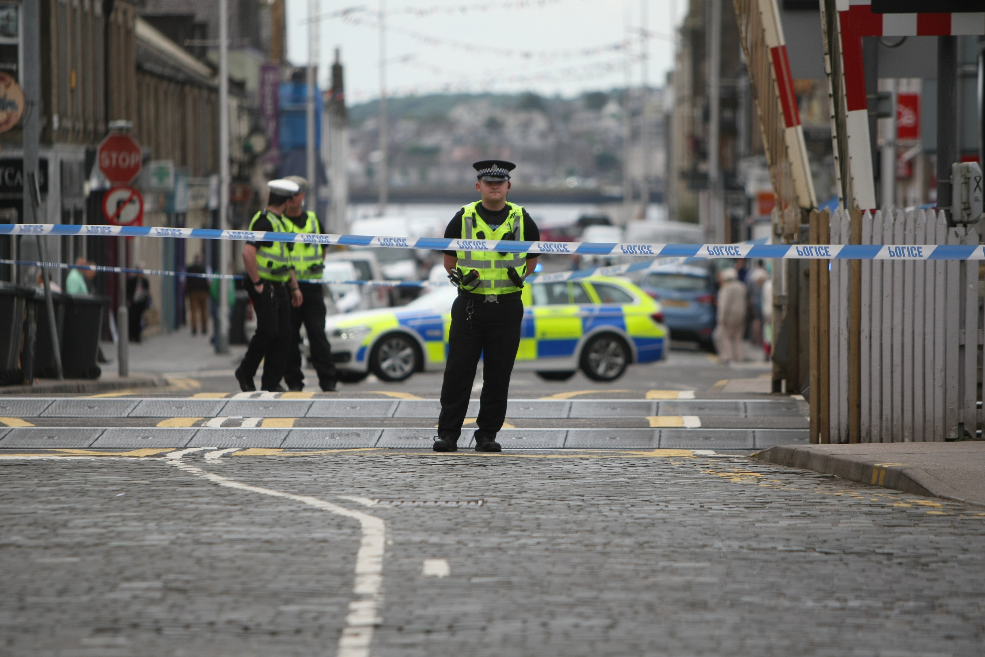 Police at the rail station at Broughty Ferry after a person was killed by a train.