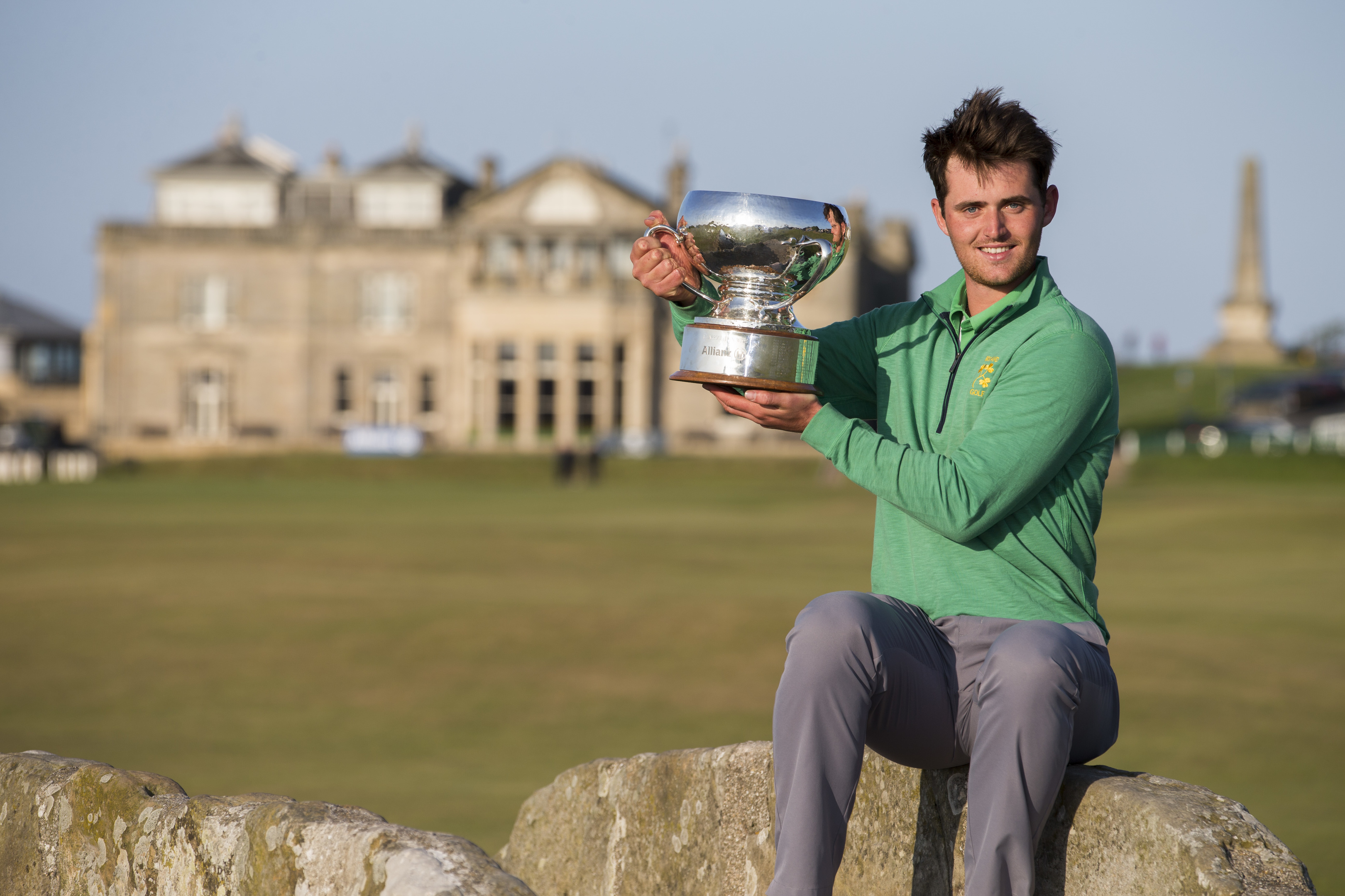 Irishman Connor O'Rourke with the Links Trophy.