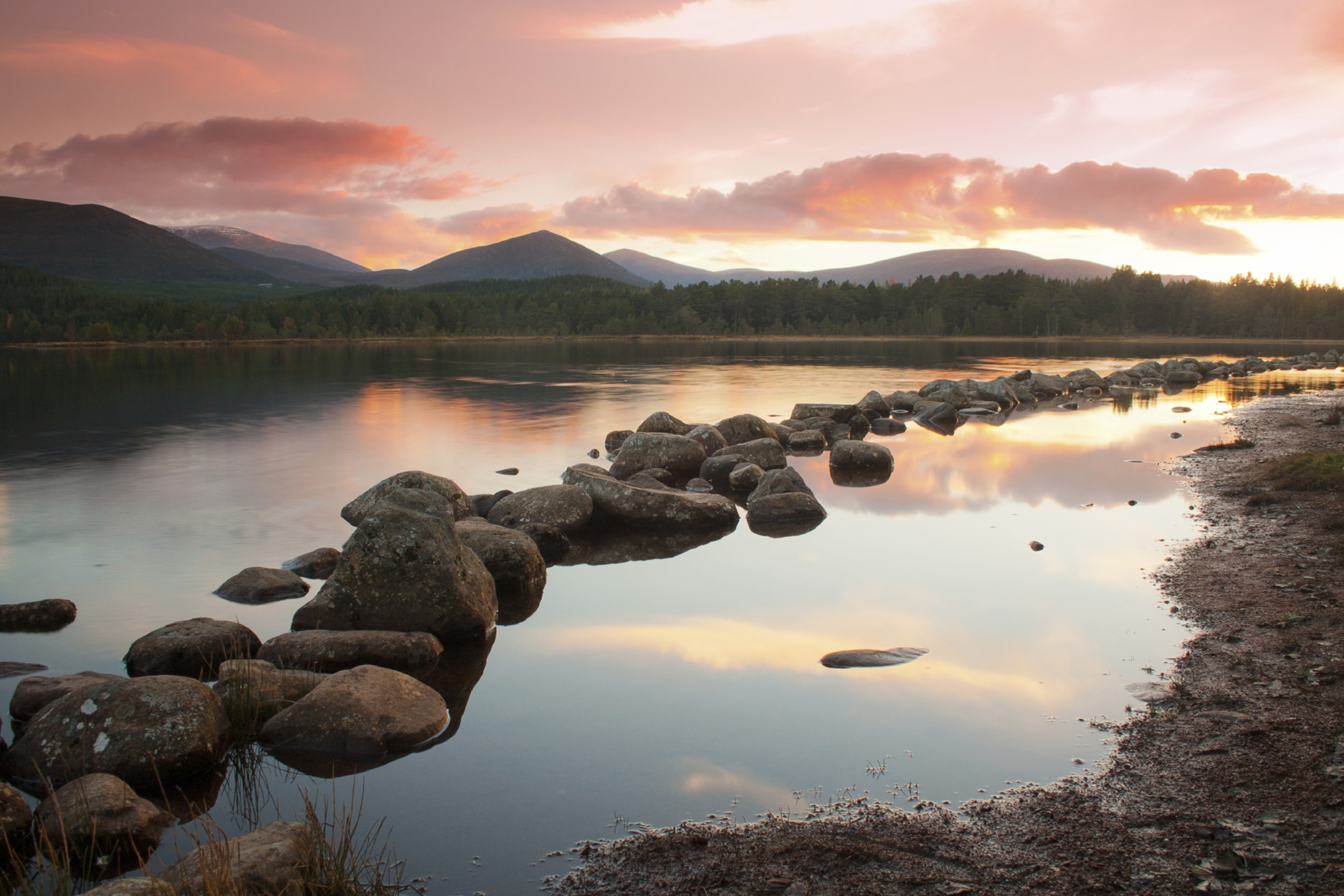 Loch Morlich in the Cairngorms at sunset.