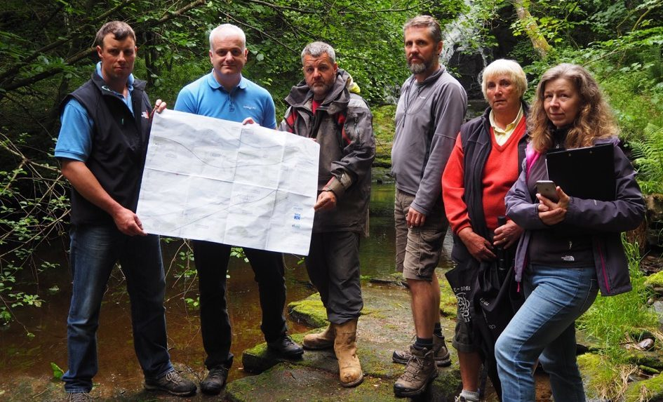 Mark Ruskell MSP (second from left) meets residents and businesses from the Guay area at a local beauty spot that will be impacted by the proposed A9 Offline Route.